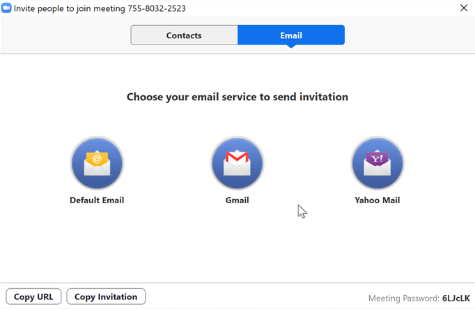 A screenshot of the email invite box in the Zoom app.