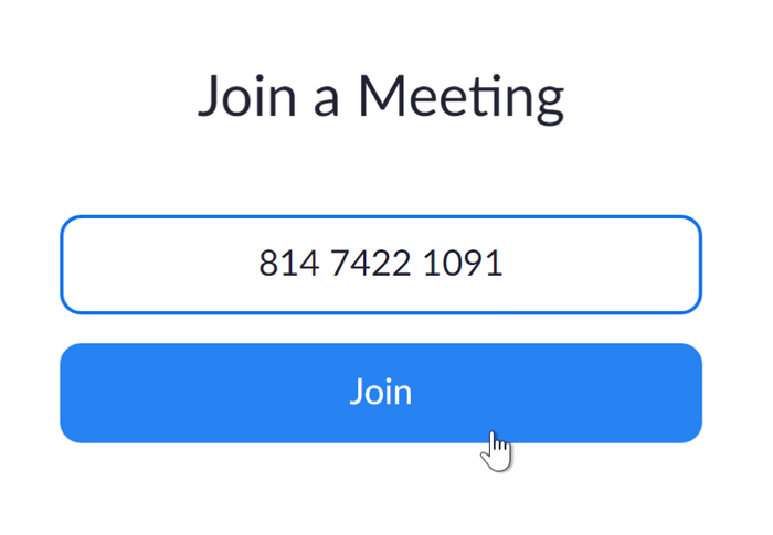 A screenshot of the Join a Meeting box on the Zoom website.