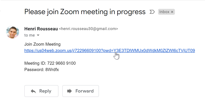 A screenshot of an email containing a link to a Zoom meeting, with a mouse cursor hovering over the link..