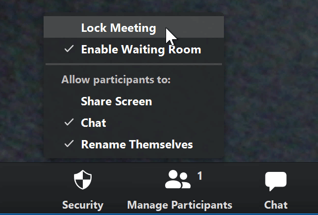 A screenshot of a mouse cursor hovering over the Lock Meeting option in the Zoom app.