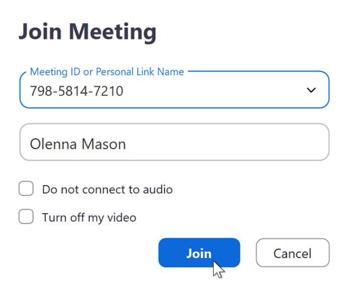 A screenshot of the Join Meeting box in the Zoom app.
