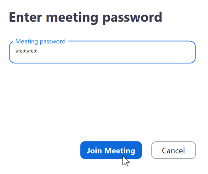 A screenshot of the meeting password box in the Zoom app.