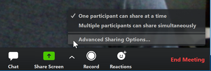 A screenshot of a mouse cursor hovering over Advanced Sharing Options in the Zoom app.