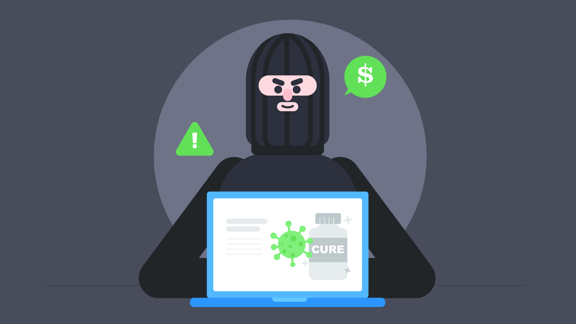 A scammer hides behind an open laptop, claiming to have a cure for COVID-19.