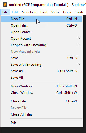 open a new file in Sublime Text