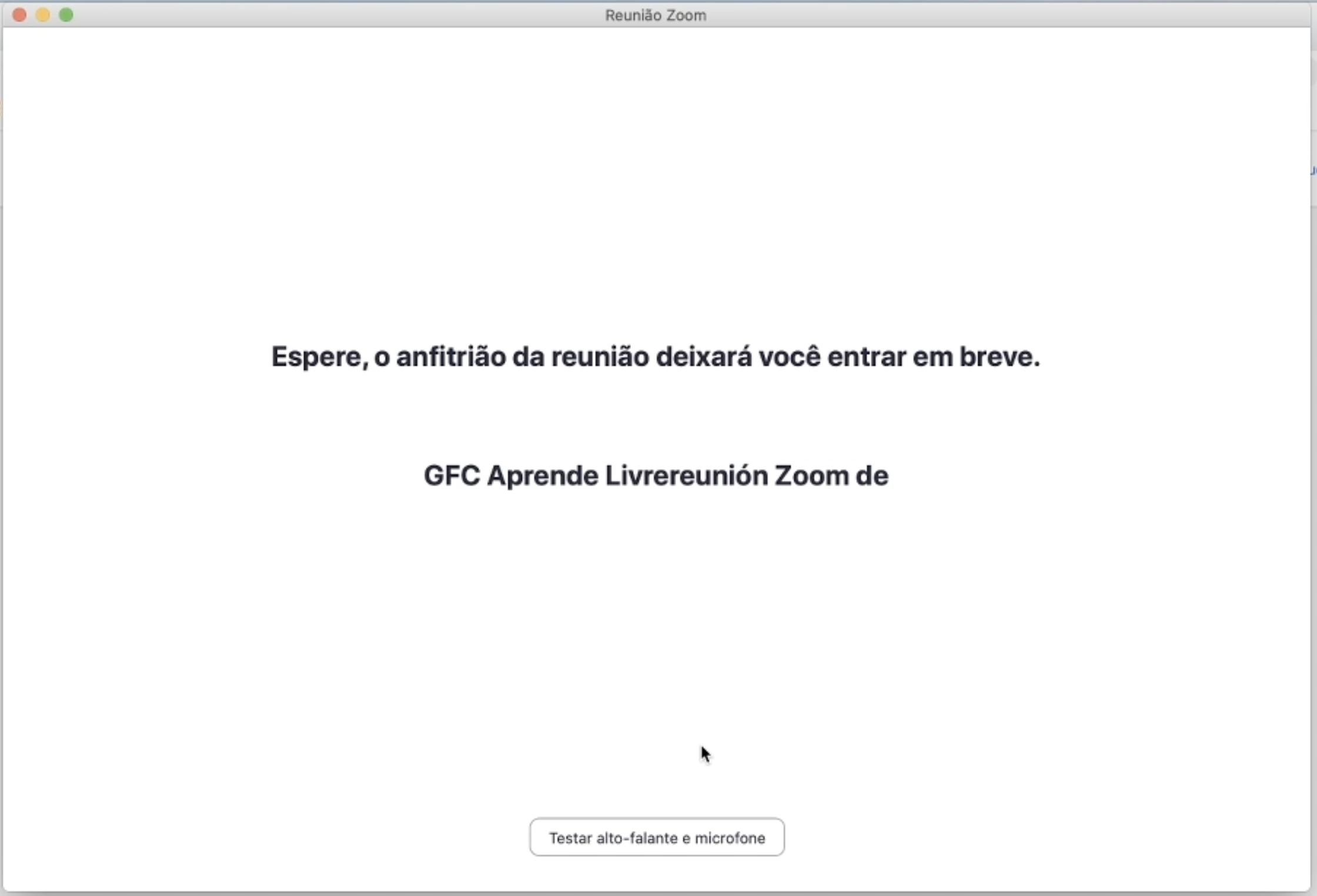 Imagem mostra a tela inicial da sala de espera do Zoom