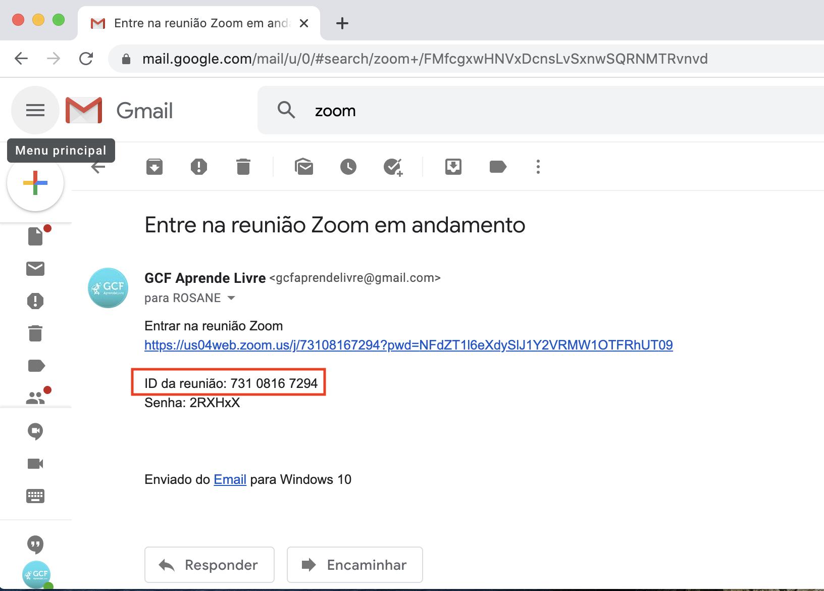 Imagem mostra onde encontrar o ID de uma reunião do Zoom