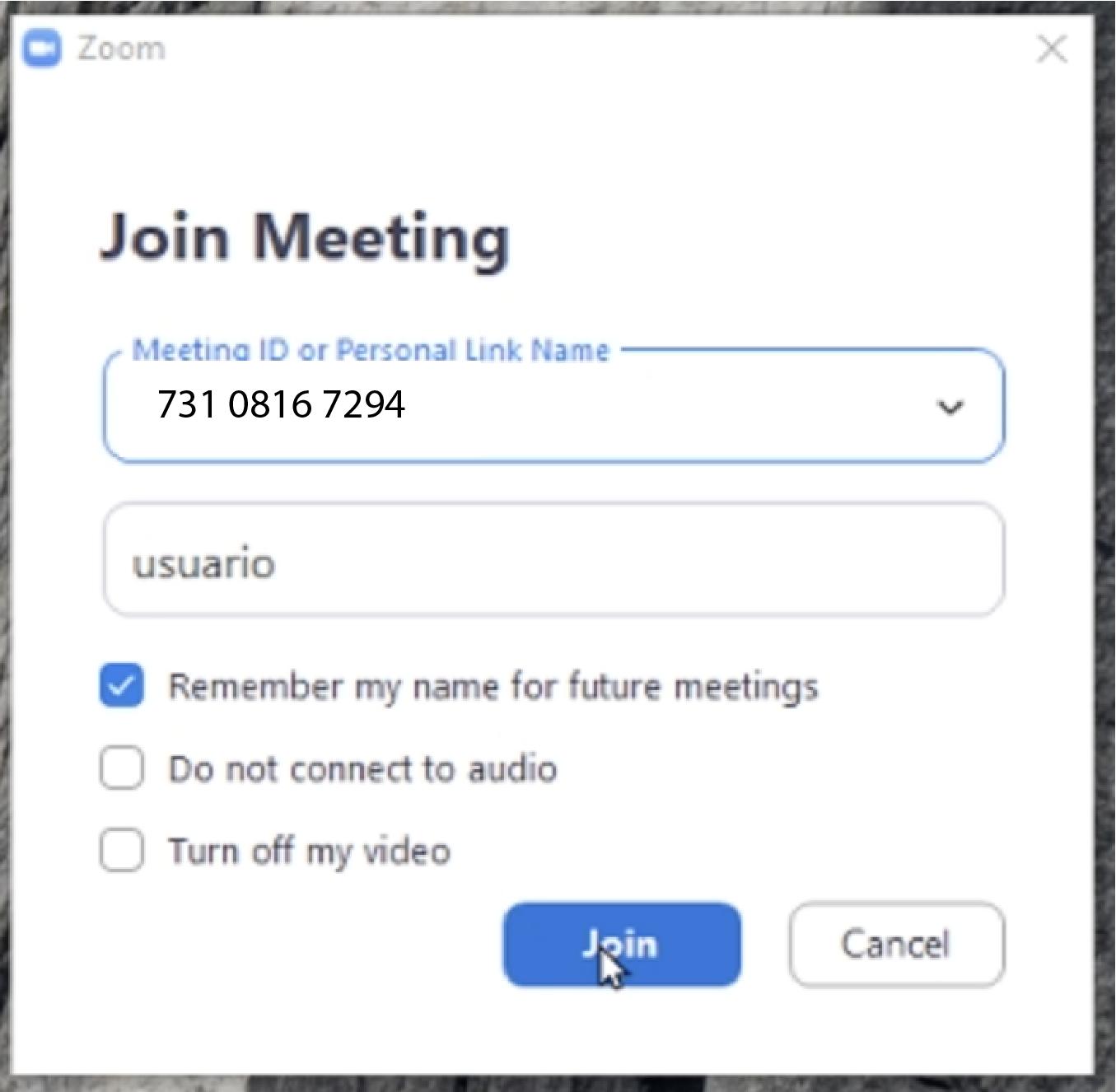 Imagem mostra onde inserir o número ID de uma reunião do Zoom