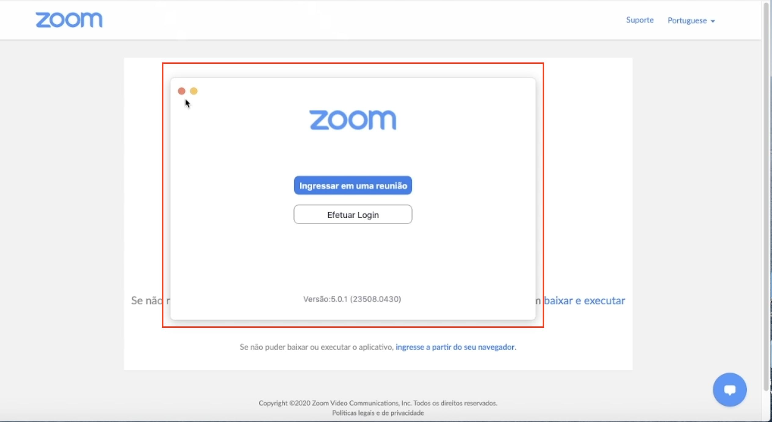 Imagem passo 4 mostra a janela inicial do zoom após ser instalado no computador