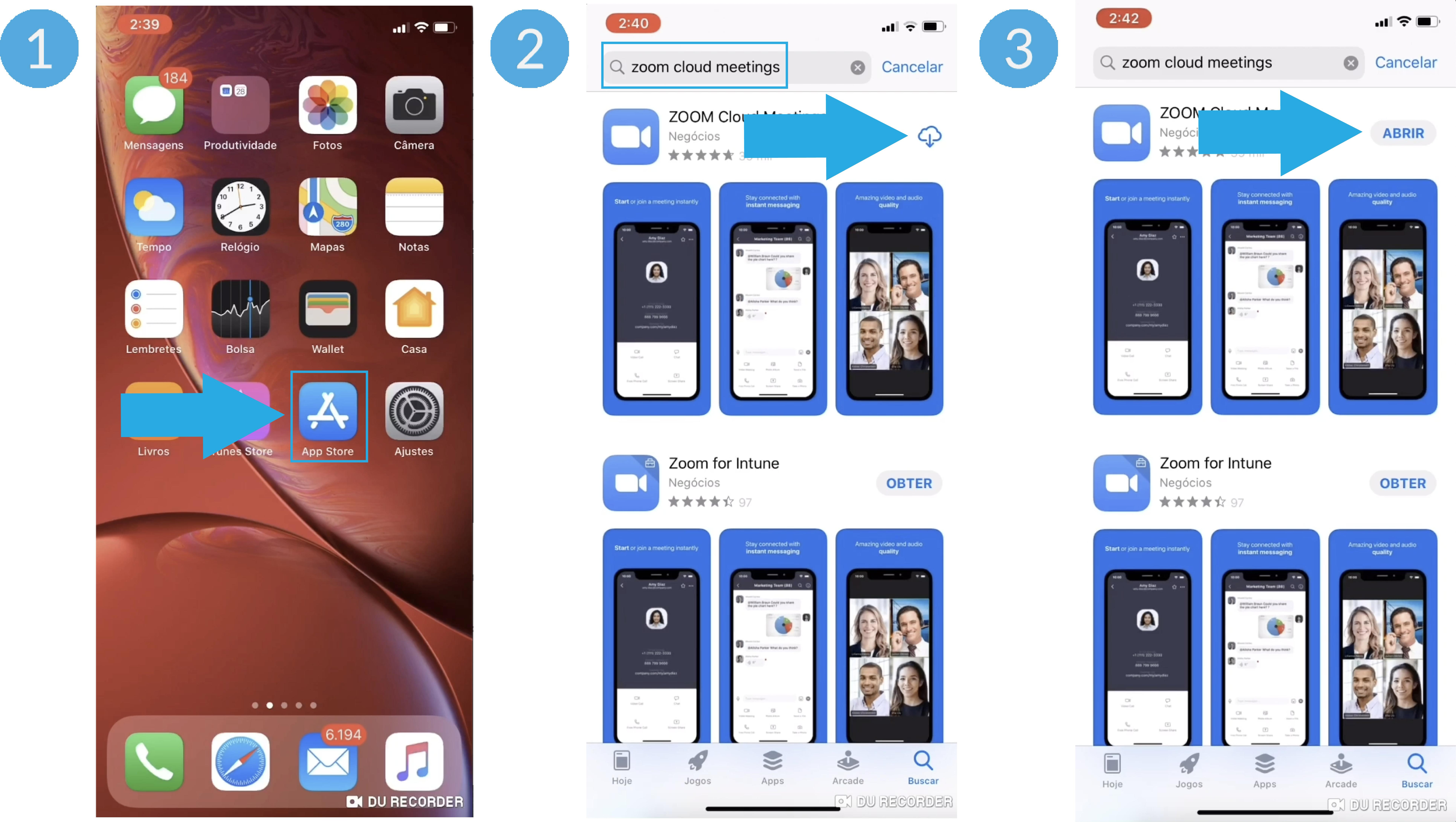 Imagem de como descarregar o zoom no celular iPhone