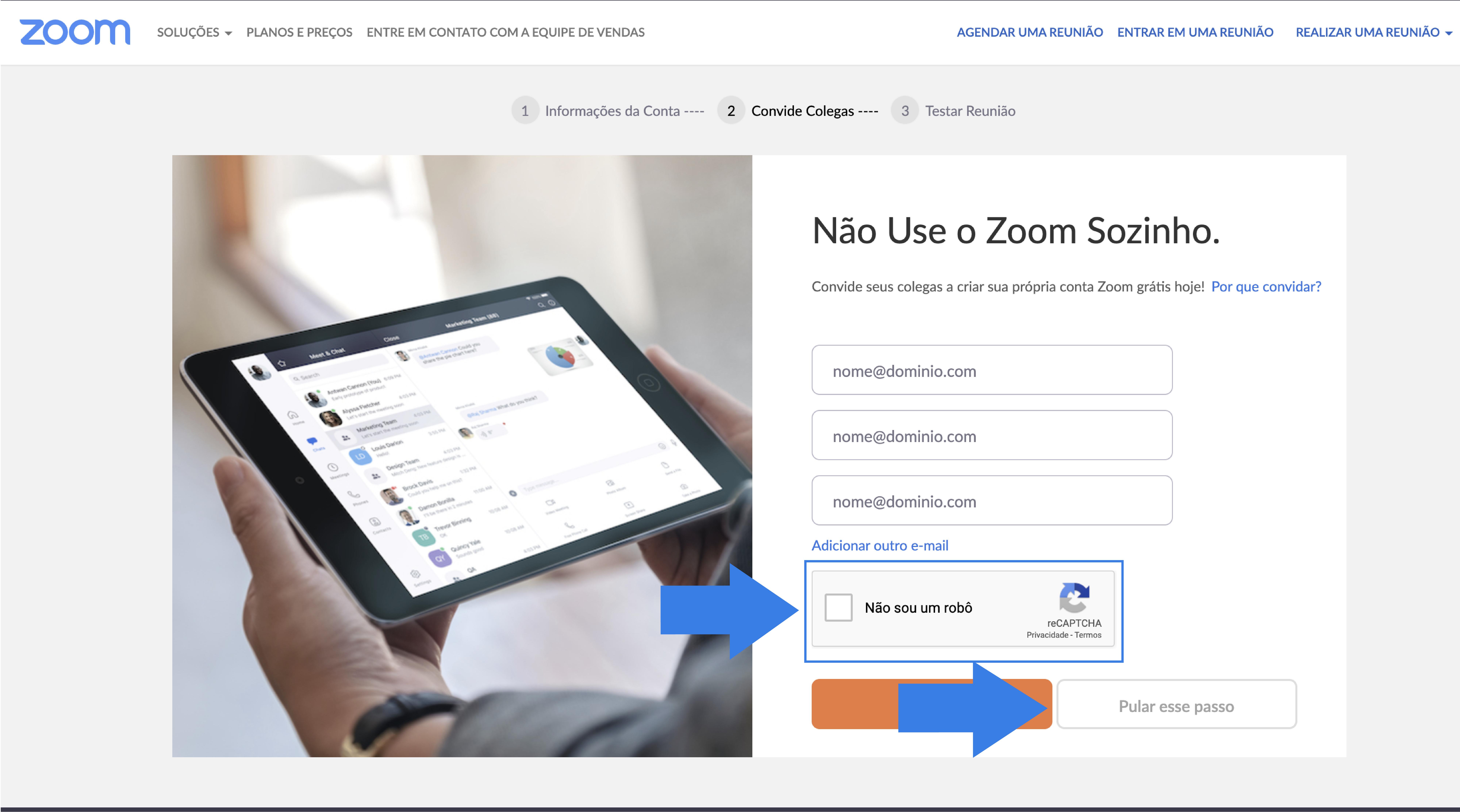 Imagem como criar uma conta no Zoom7