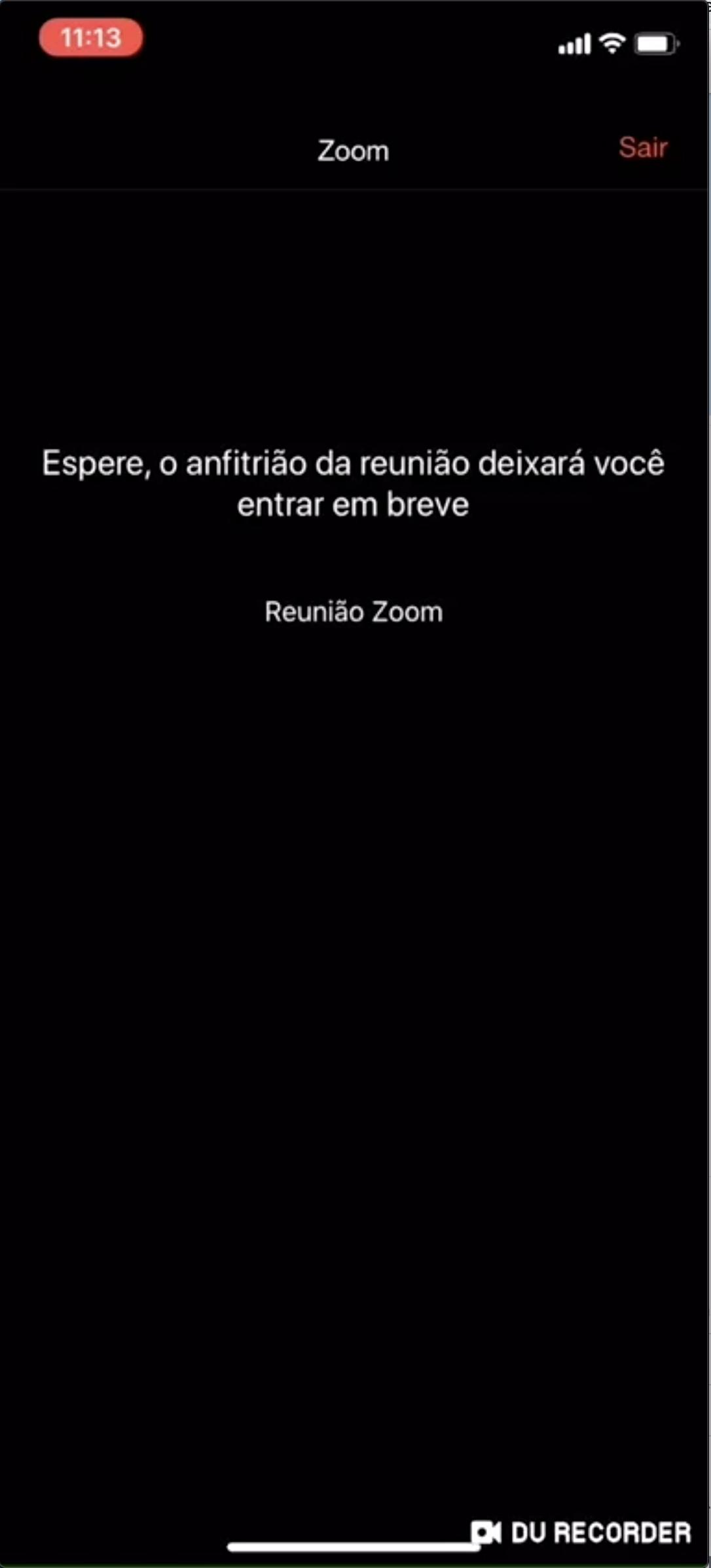 Imagem sala de espera do Zoom pelo celular