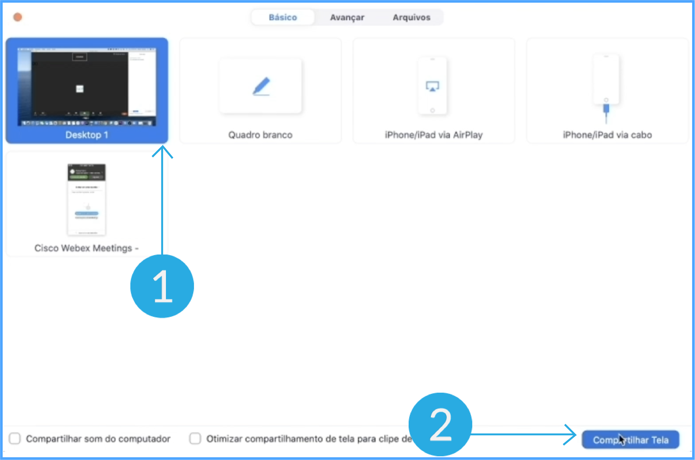 Imagem como compartilhar o desktop em uma reunião do zoom