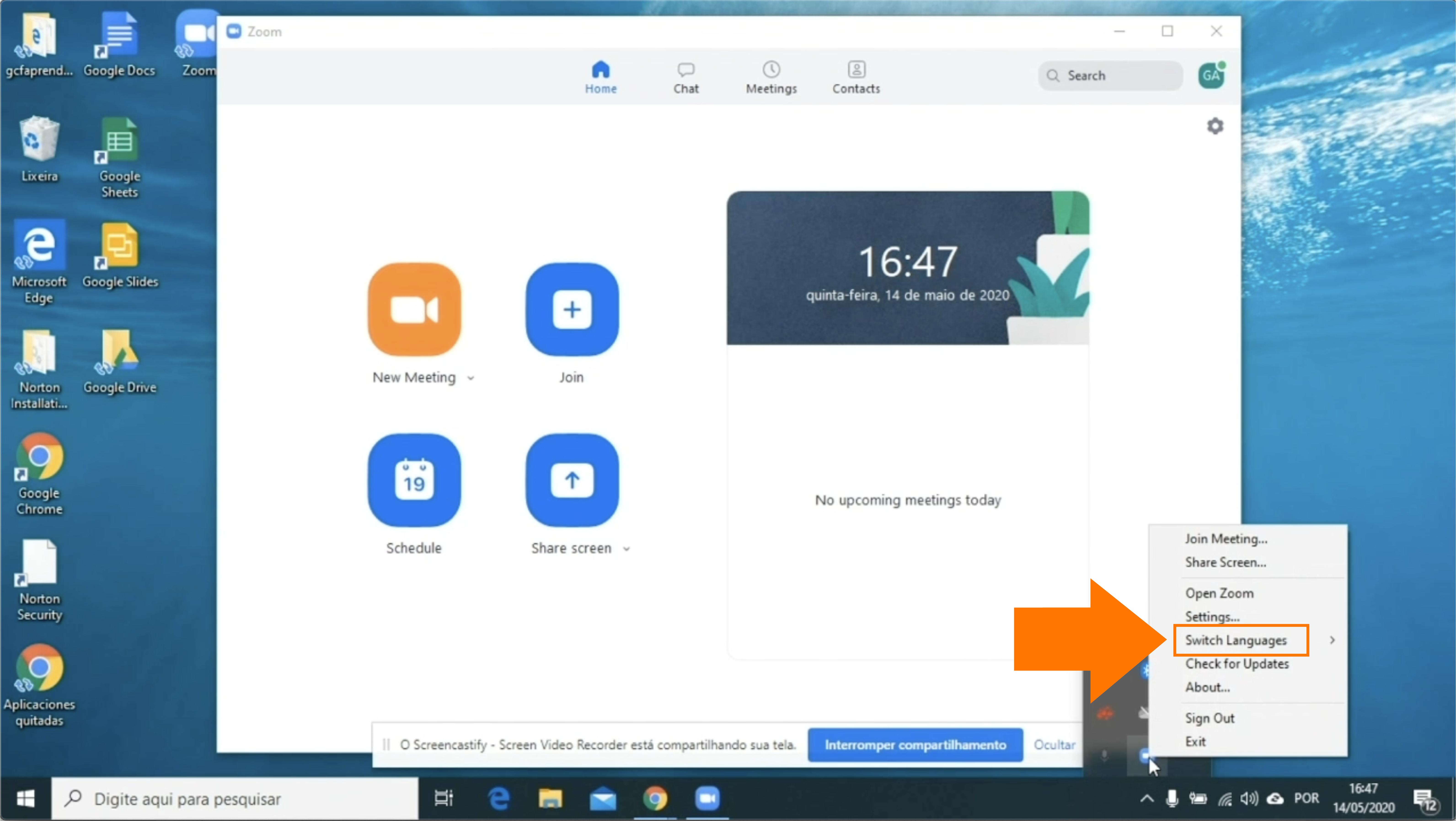Imagem como passar o idioma do Zoom para o português em um computador Windows2