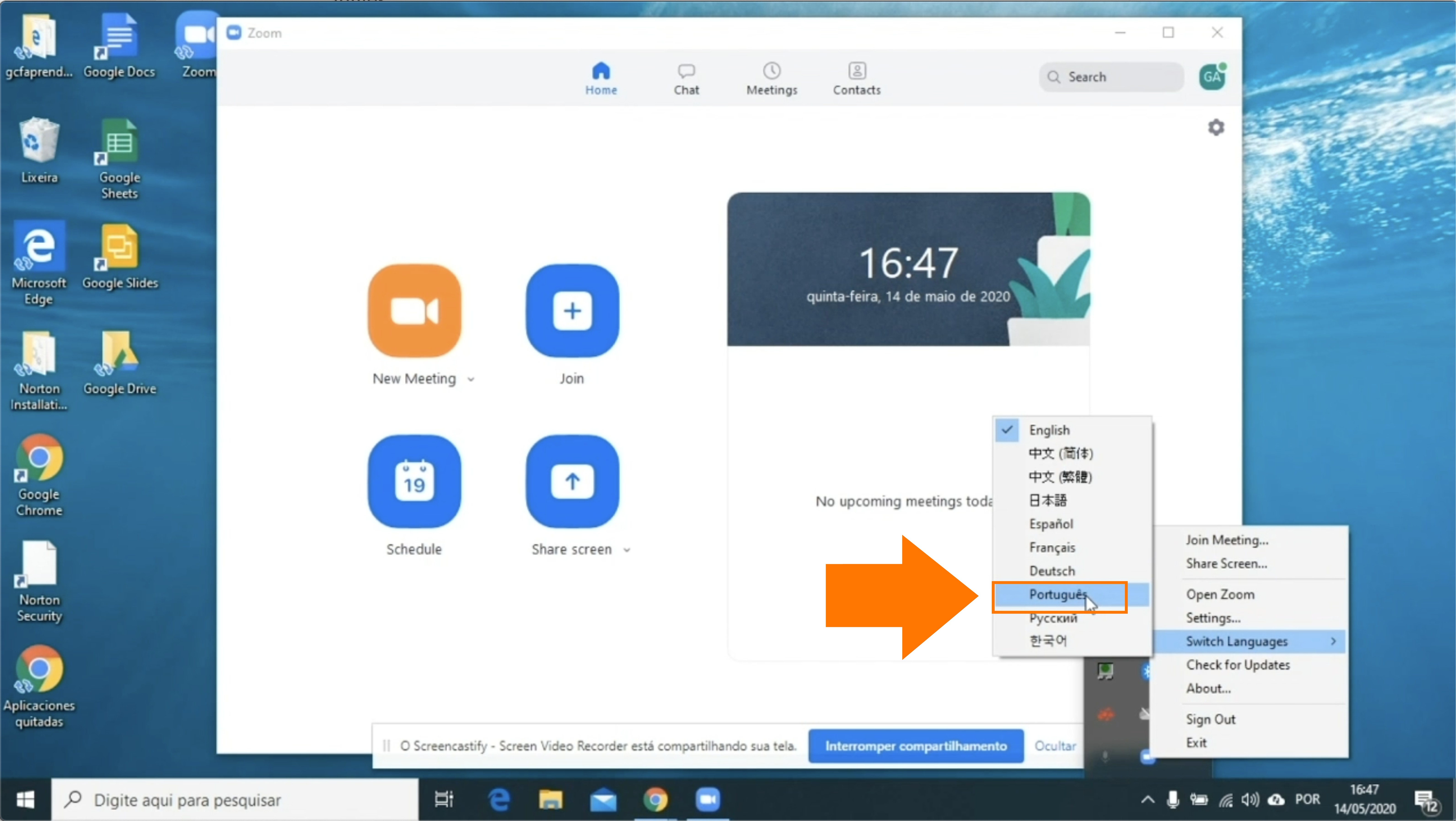 Imagem como passar o idioma do Zoom para o português em um computador Windows3