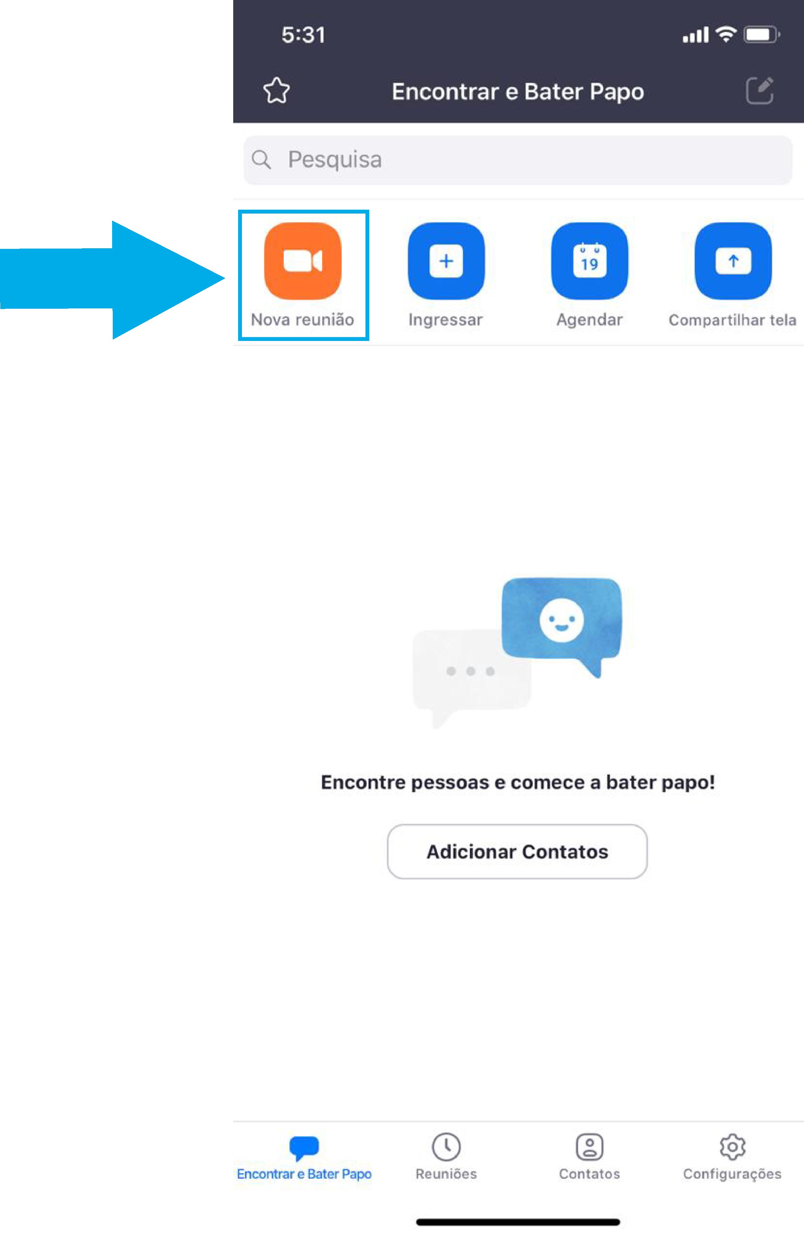 Imagem de como iniciar uma reunião imediata no zoom pelo celular