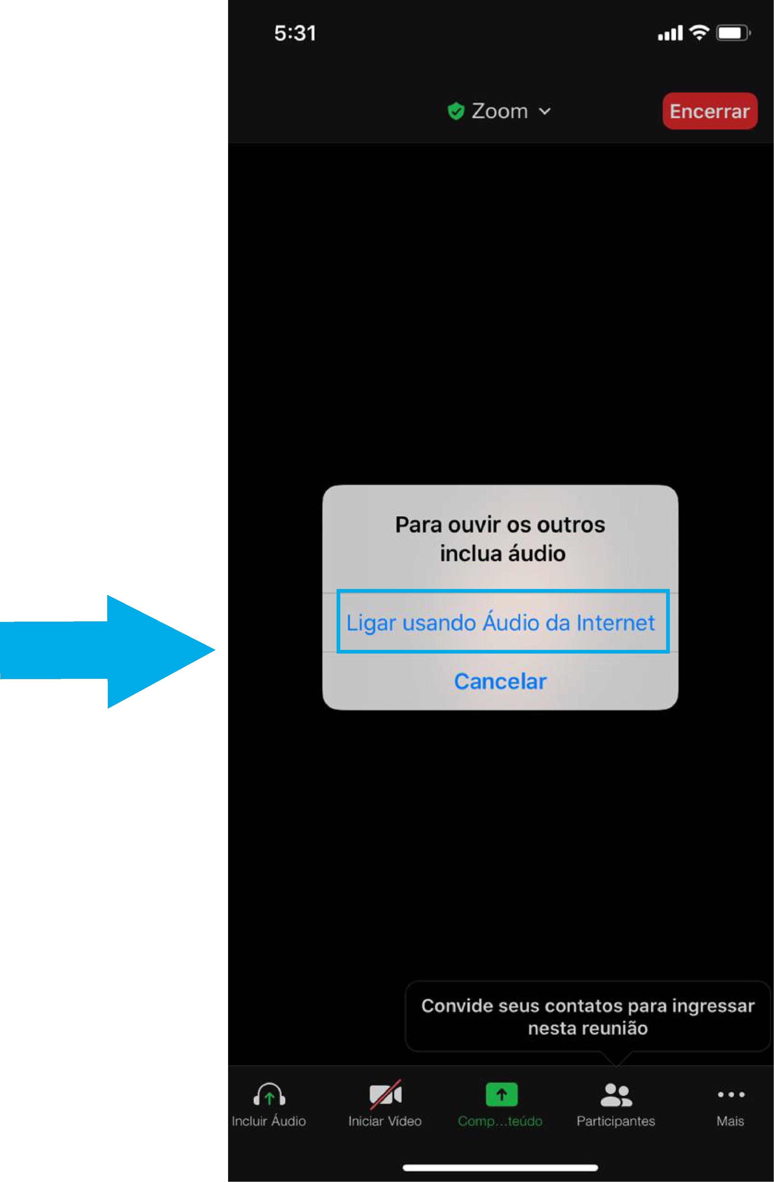 Imagem de como iniciar uma reunião imediata no zoom pelo celular3