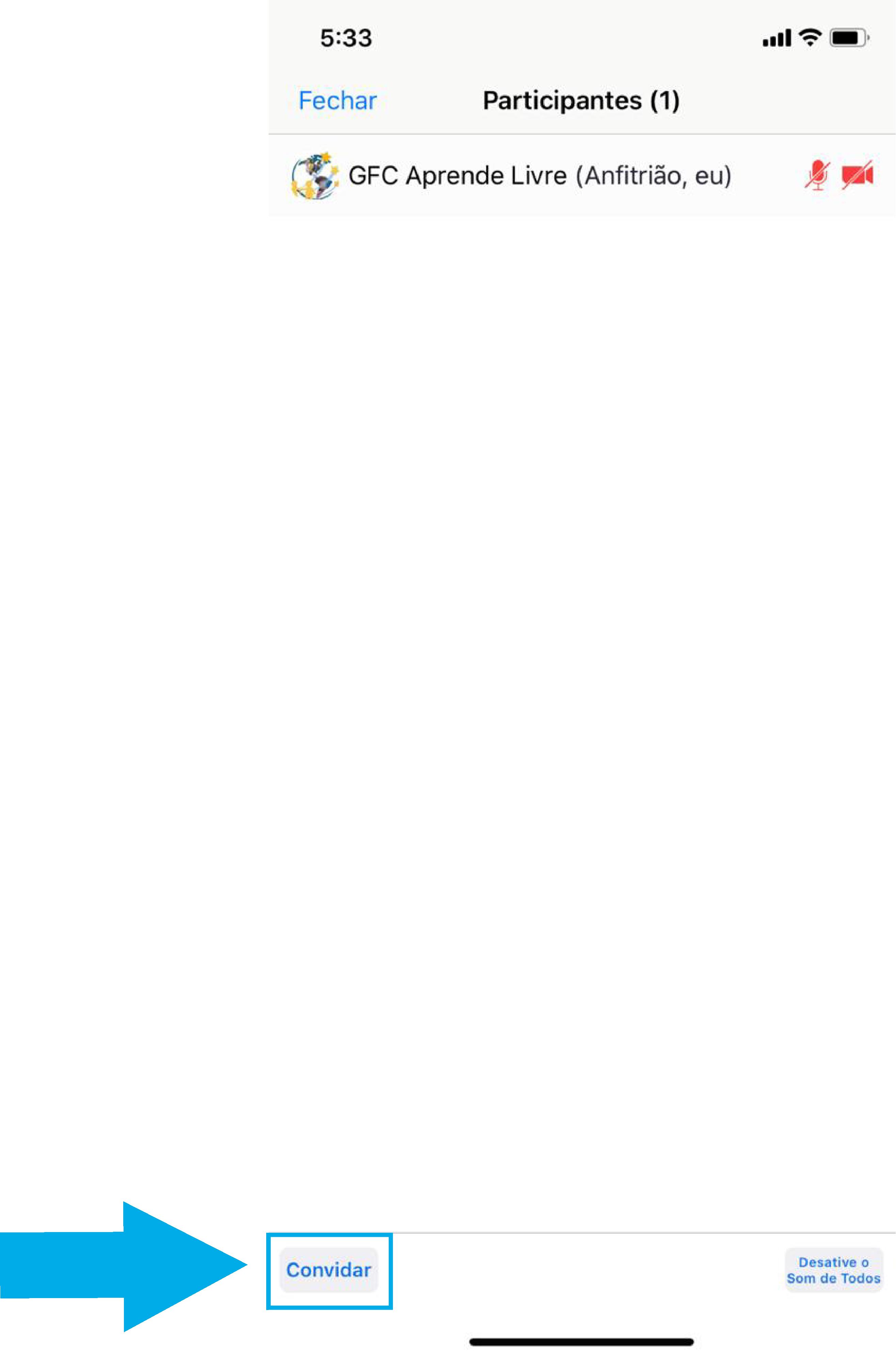 Imagem de como iniciar uma reunião imediata no zoom pelo celular5