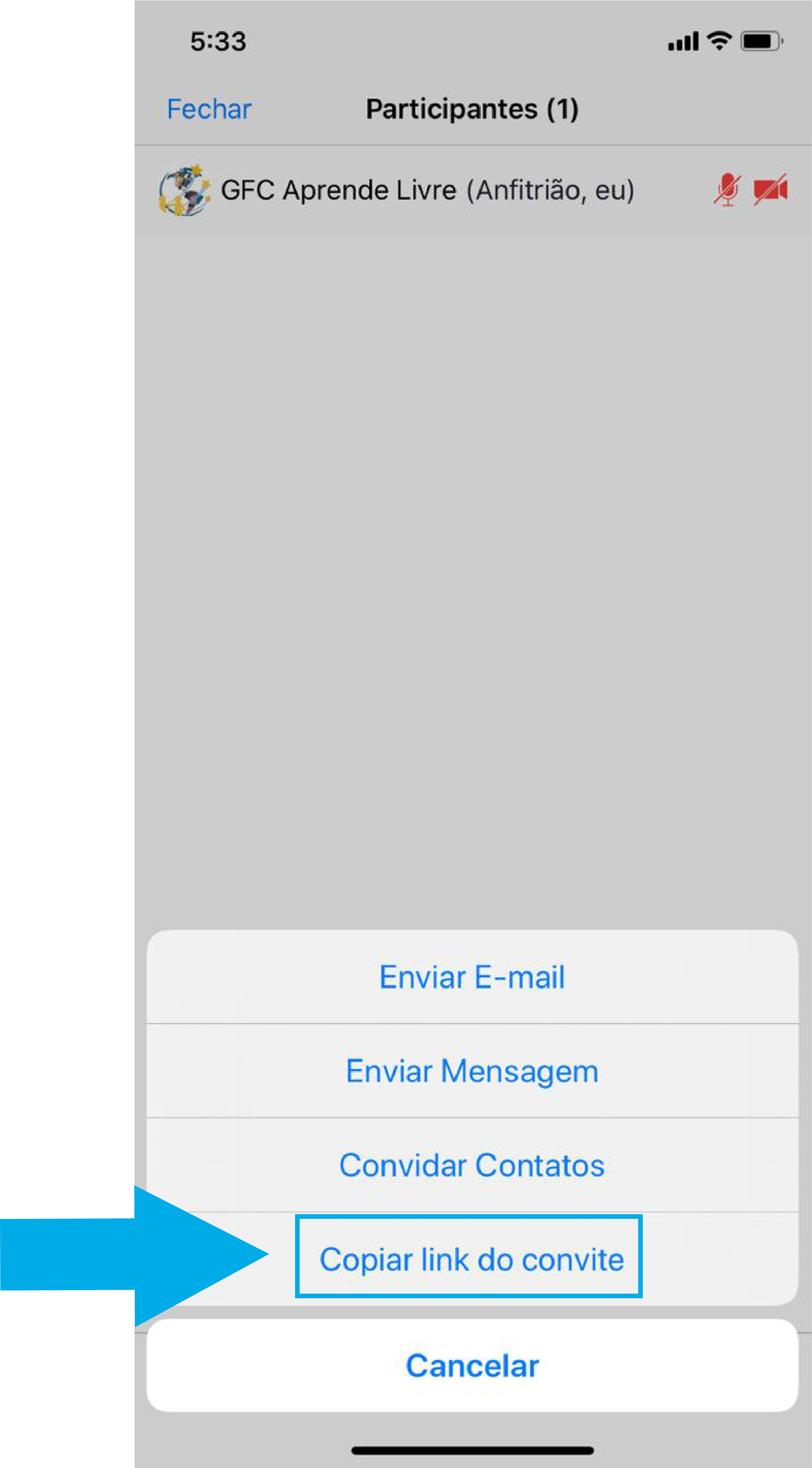 Imagem de como iniciar uma reunião imediata no zoom pelo celular6