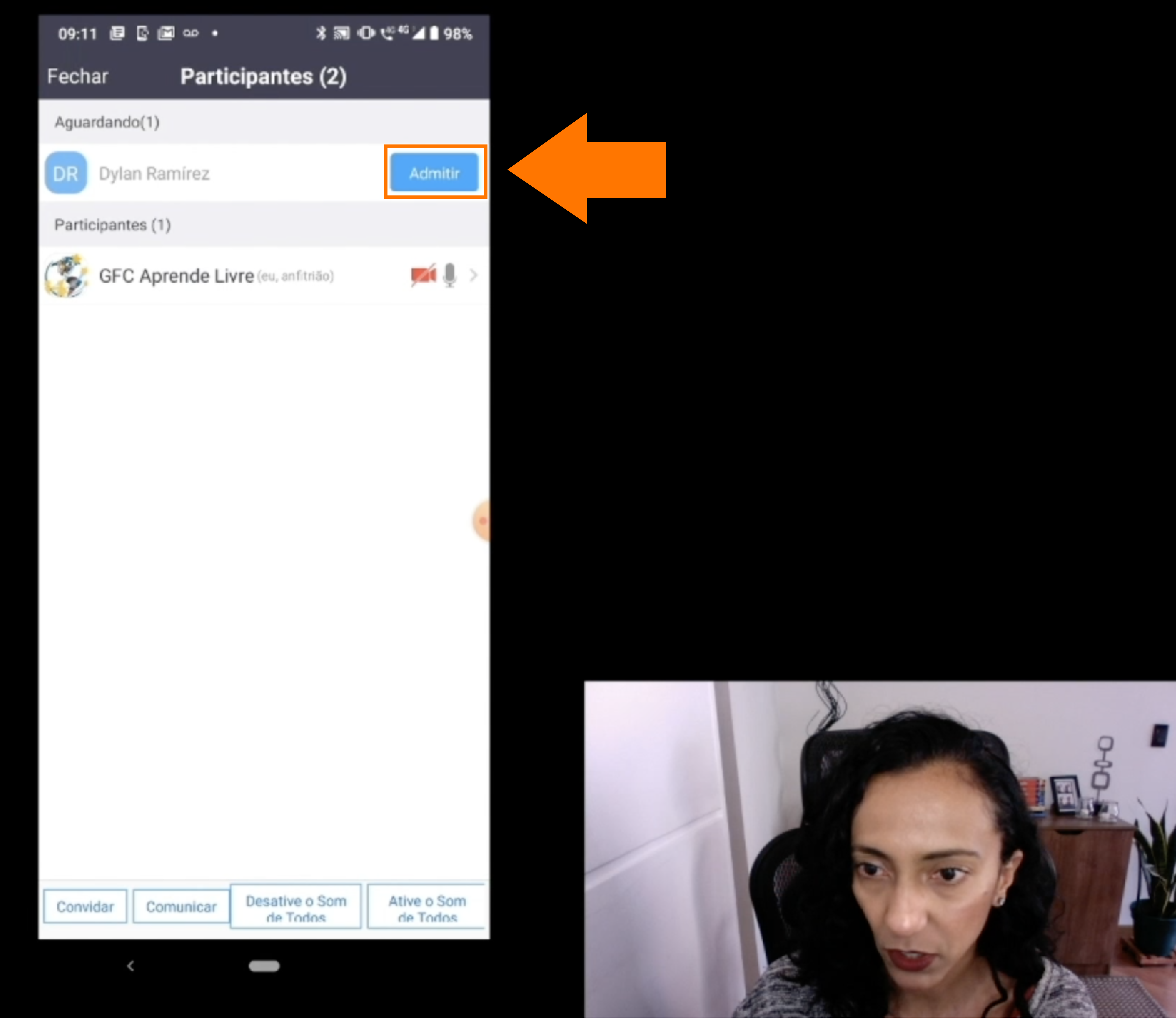 Imagem de como admitir a entrada de um participante a sua reunião do Zoom2