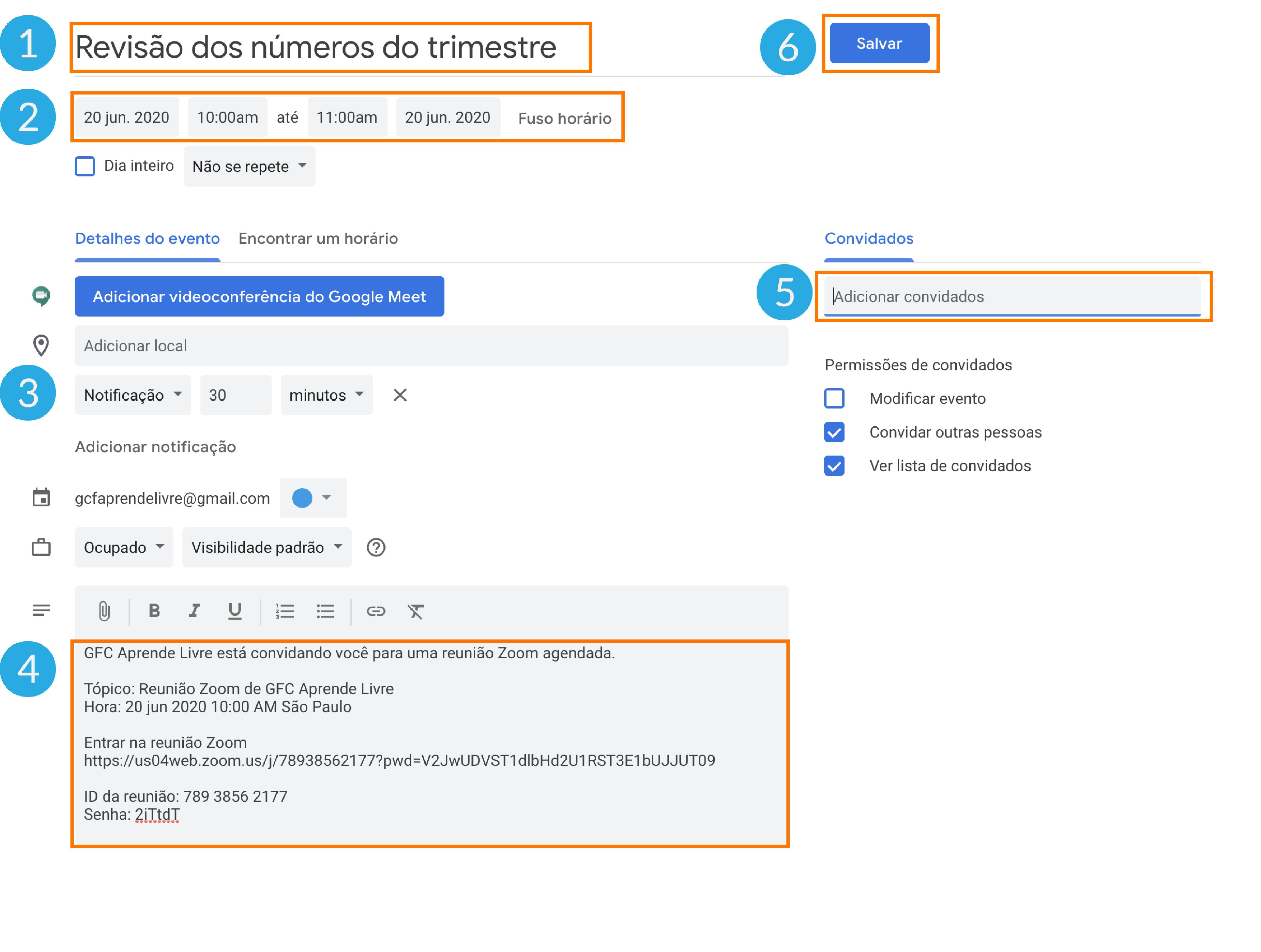 Imagem como agendar sua reunião do zoom no Google agenda 5