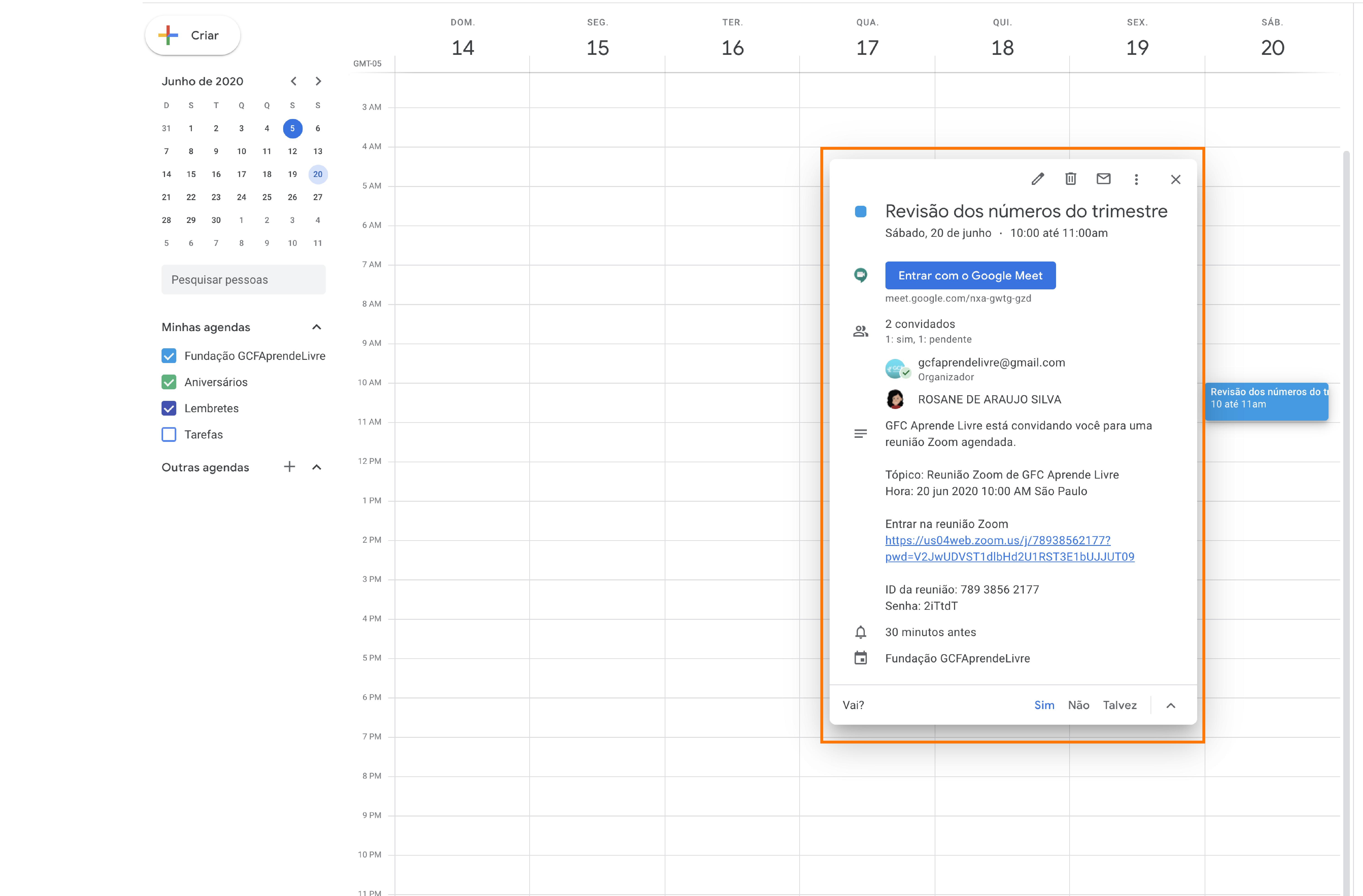 Imagem como agendar sua reunião do zoom no Google agenda 7
