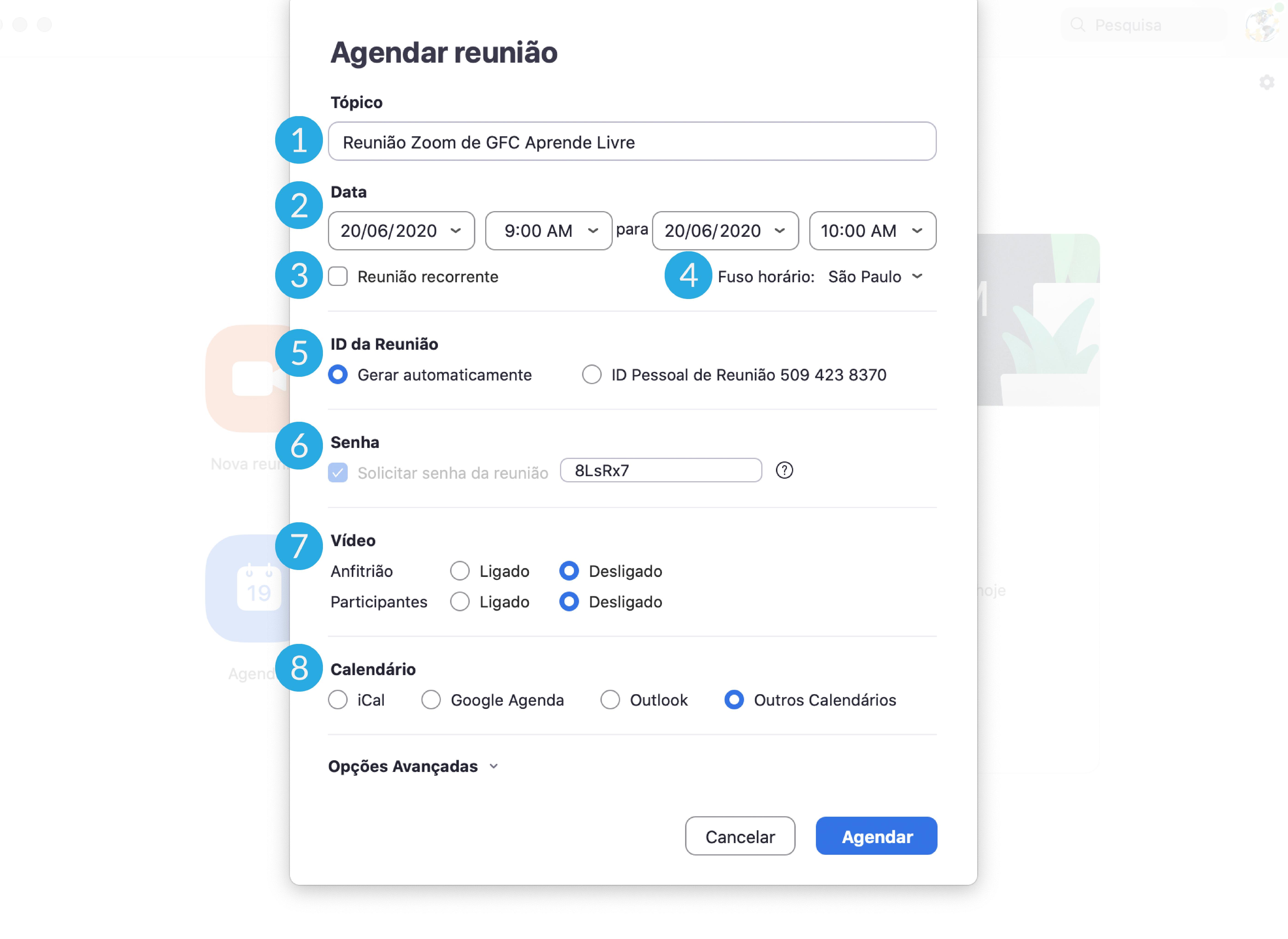 Imagem como agendar uma reunião do zoom pelo computador