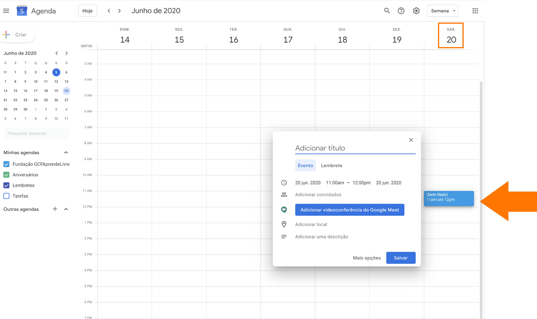 Imagem como agendar sua reunião do zoom no Google agenda 3
