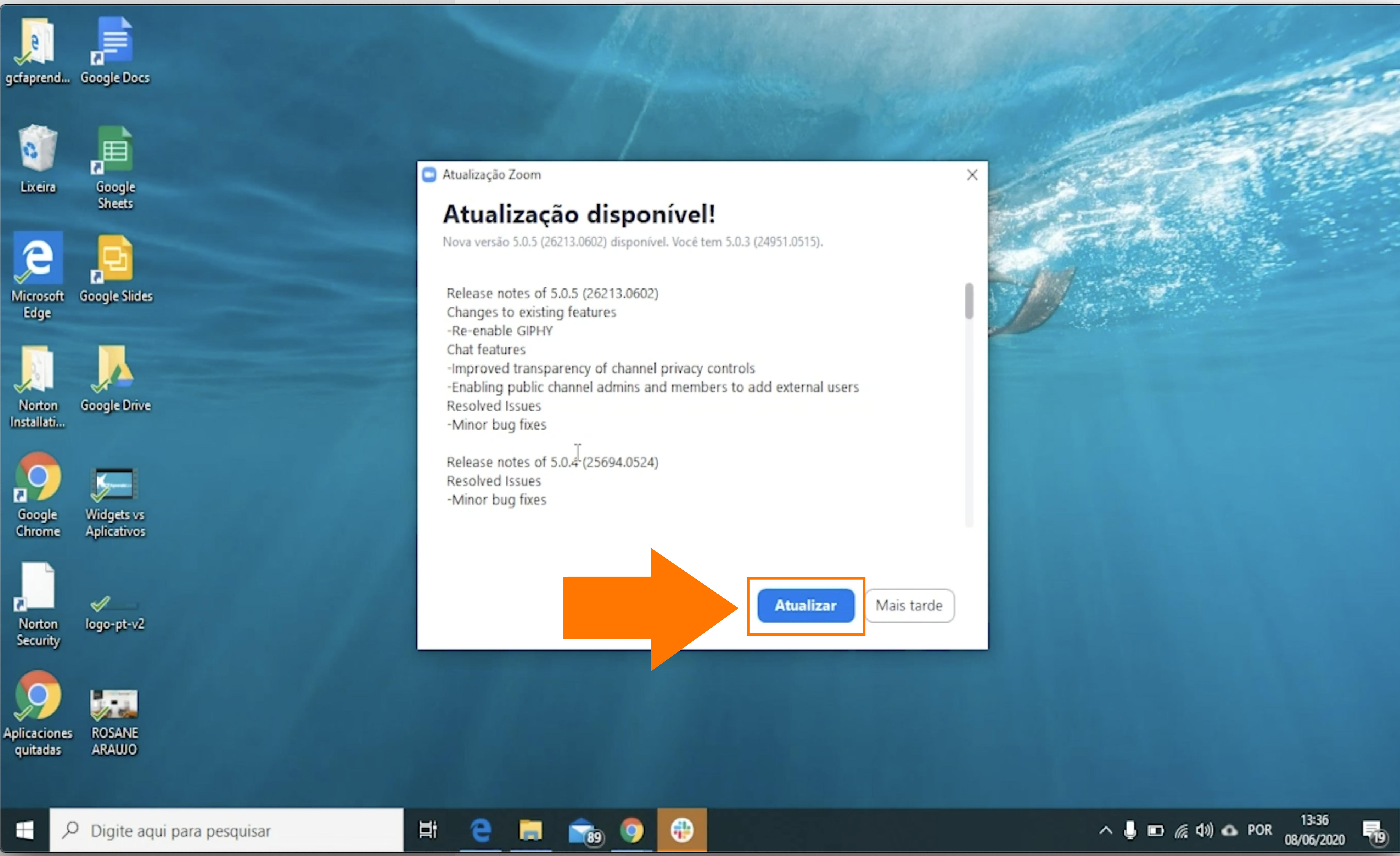 como atualizar o zoom no seu computador windows3