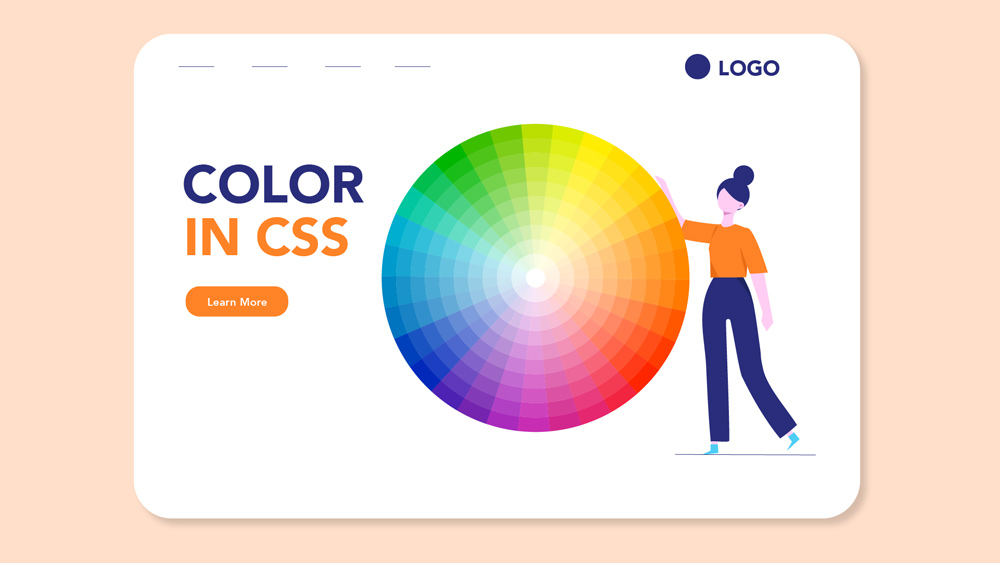 woman standing next to color wheel