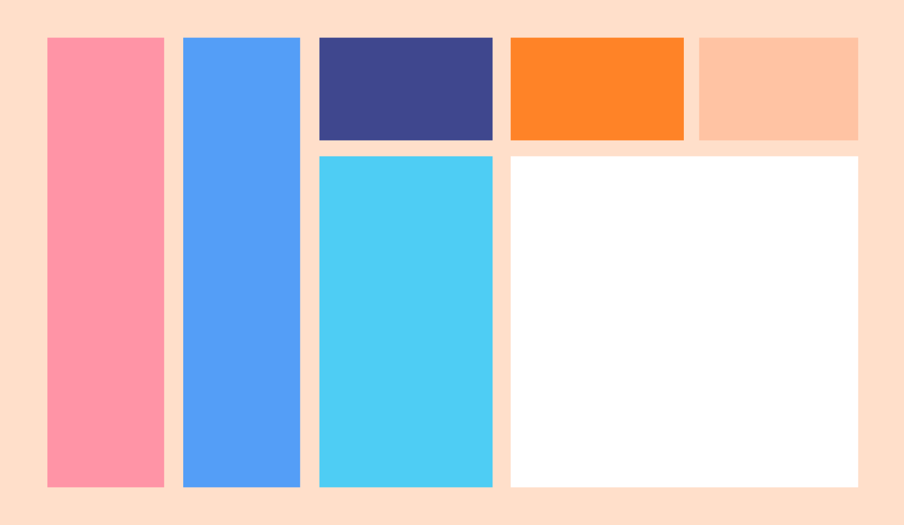 7 rectangles arranged as in a website layout