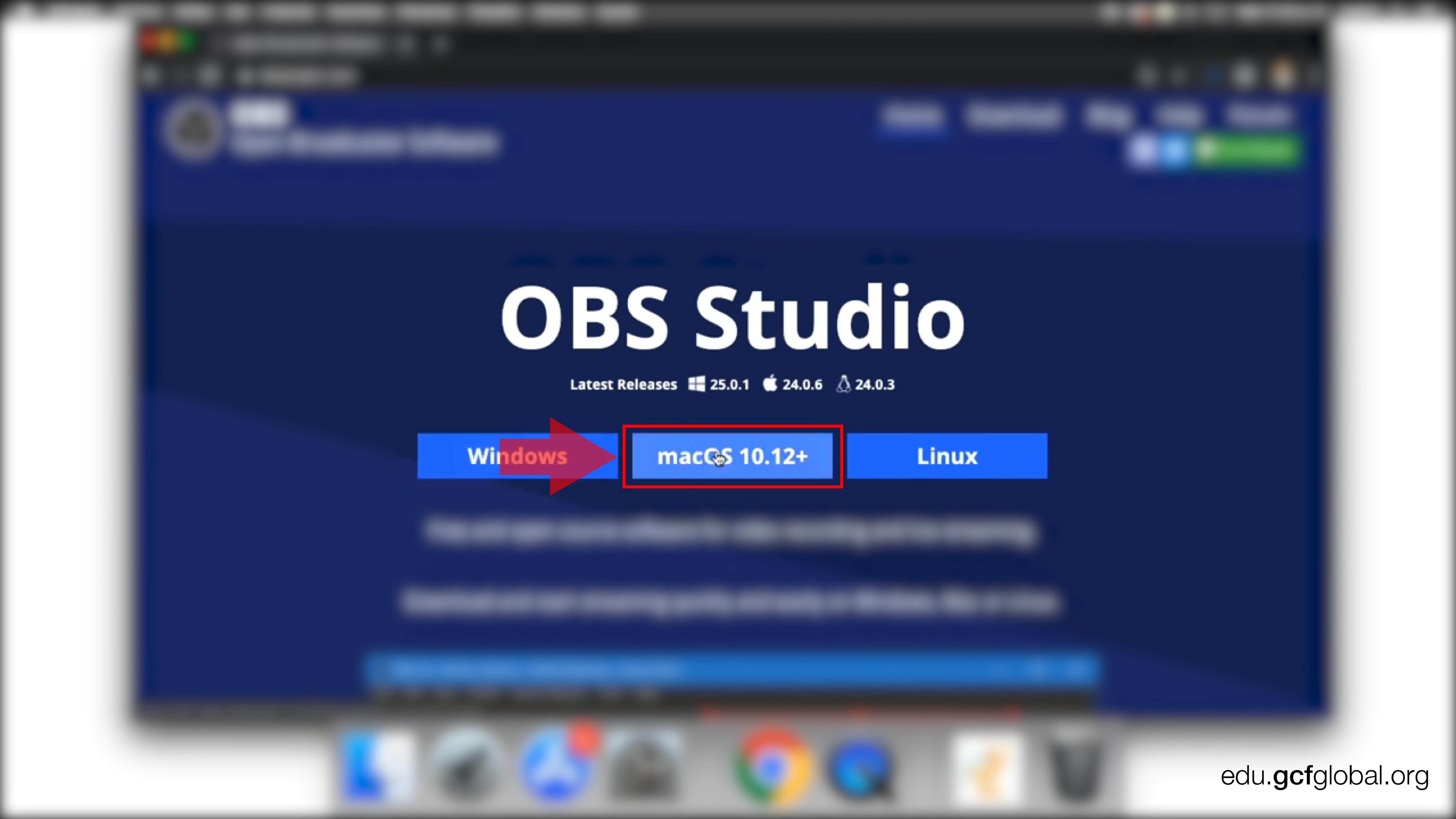Imagen de página de OBS haciendo descarga para macOS.