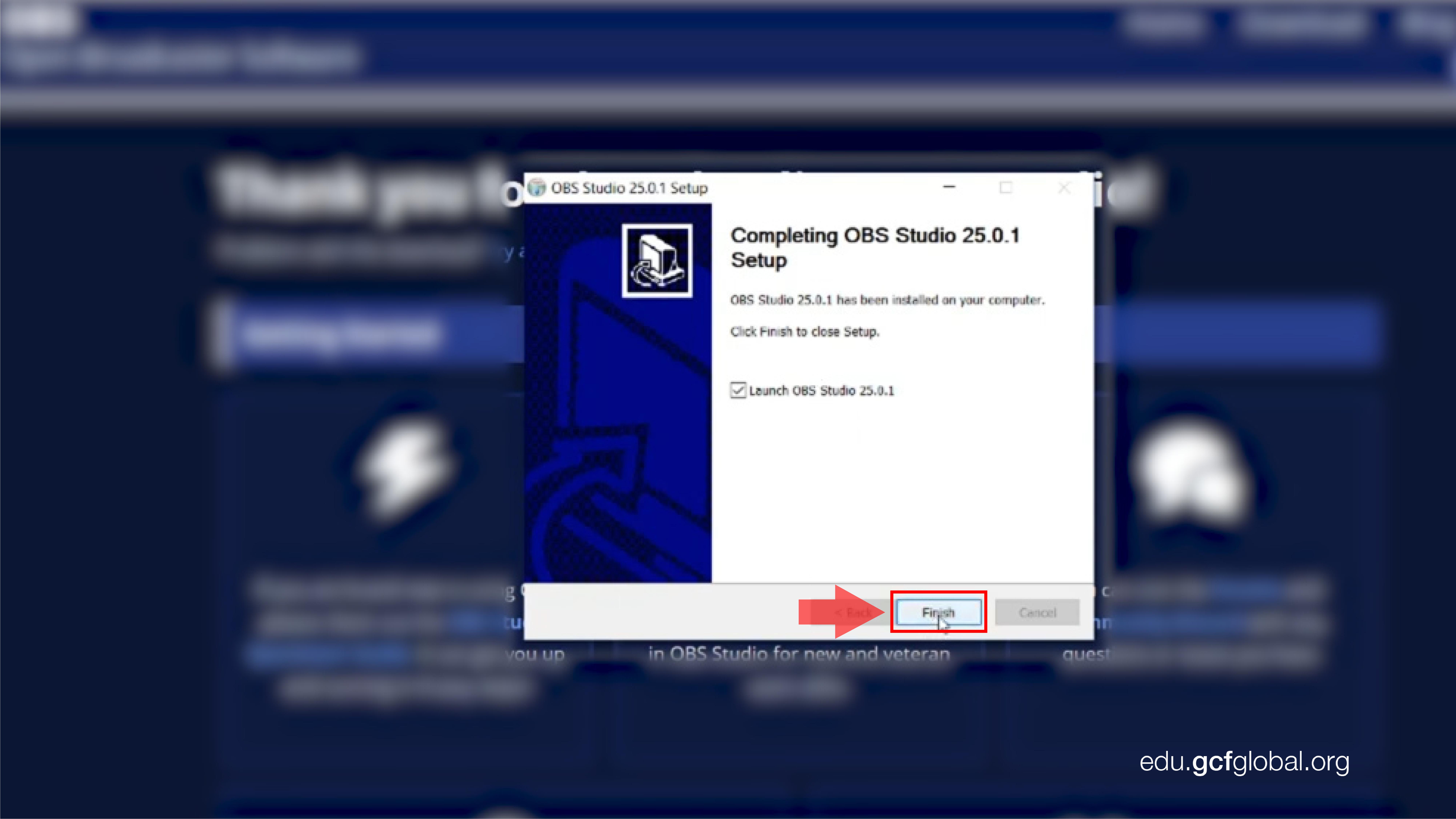 Imagen haciendo clic en Finish para terminar con la instalación de OBS en Windows.