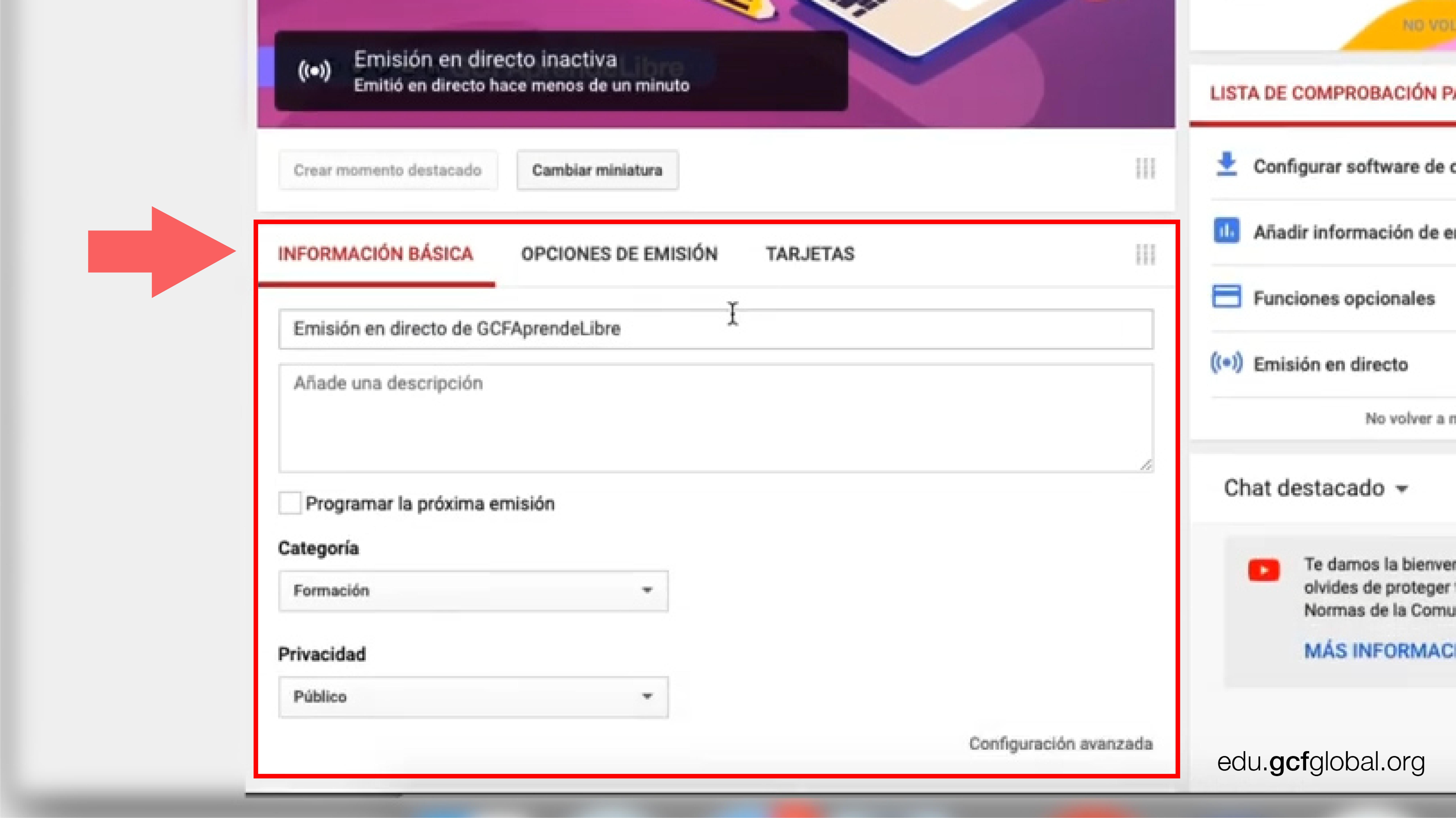 Ventana de YouTube mostrando el menú de ajustes.