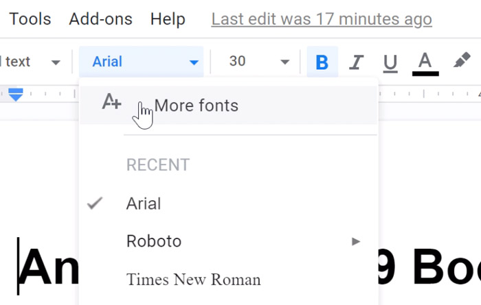 clicking more fonts