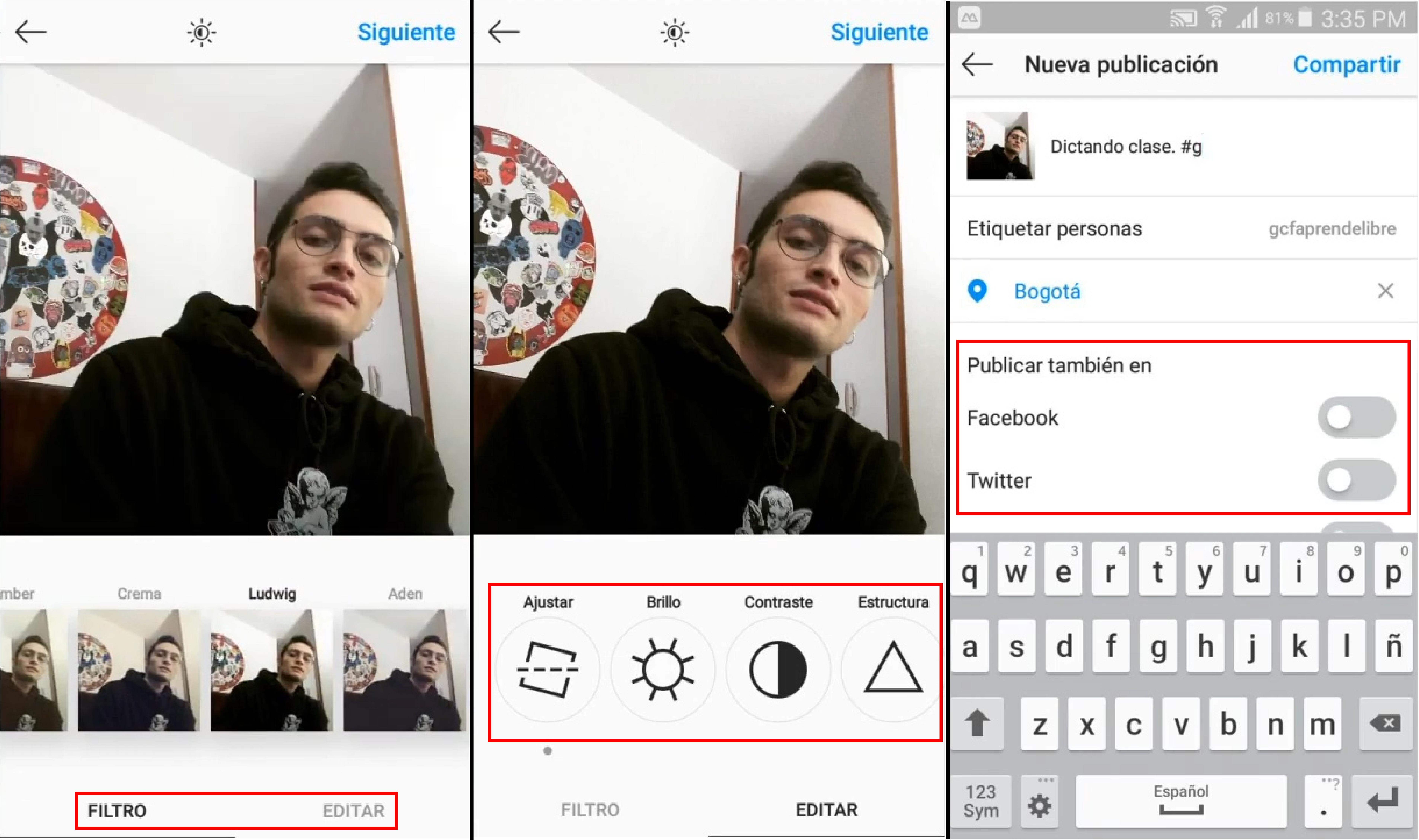 Imagen con las funciones para subir una foto en Instagram.