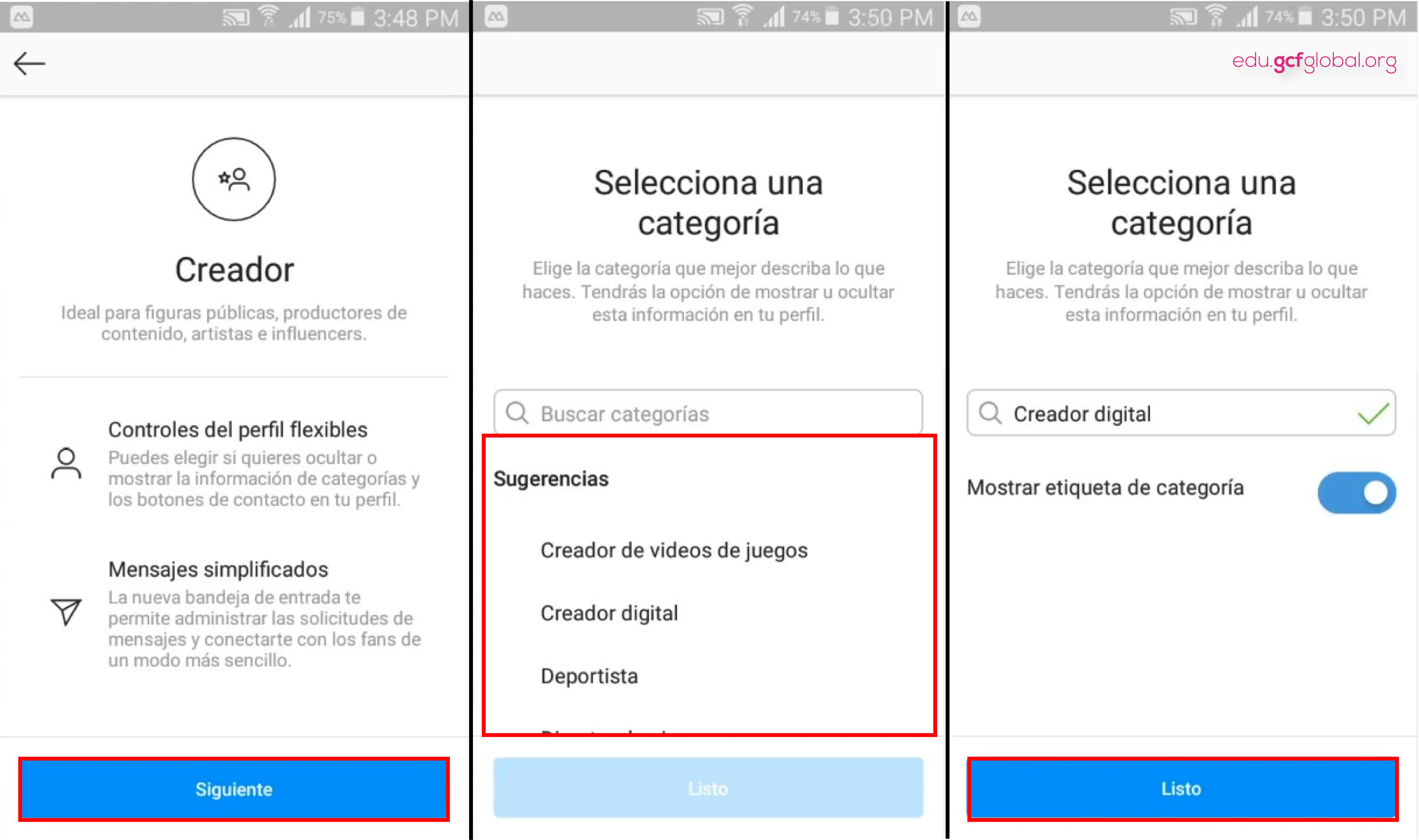 Imagen haciendo clic en Siguiente y seleccionando una Categoría.