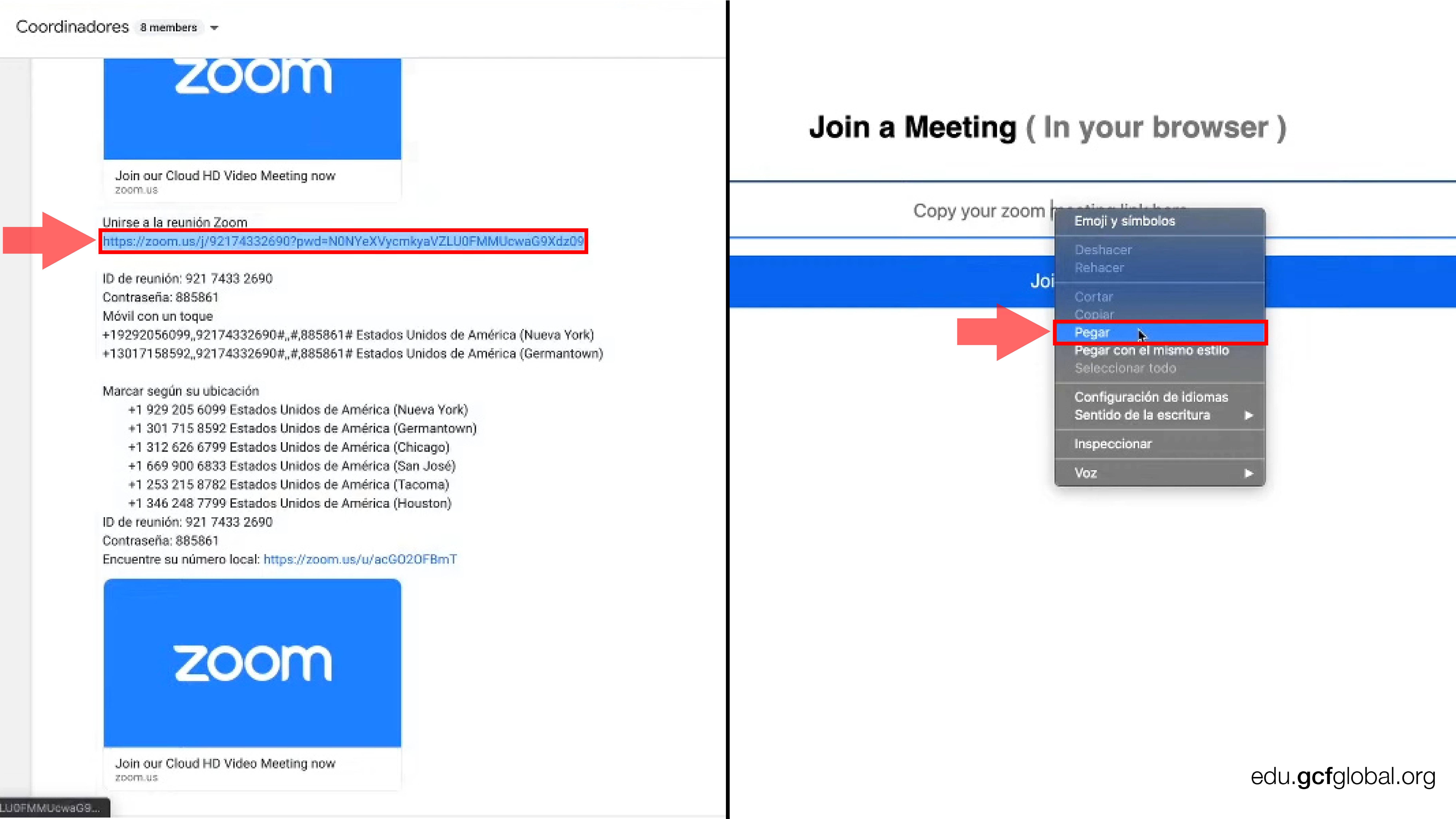 Imagen copiando y pegando el link de la reunión de Zoom.