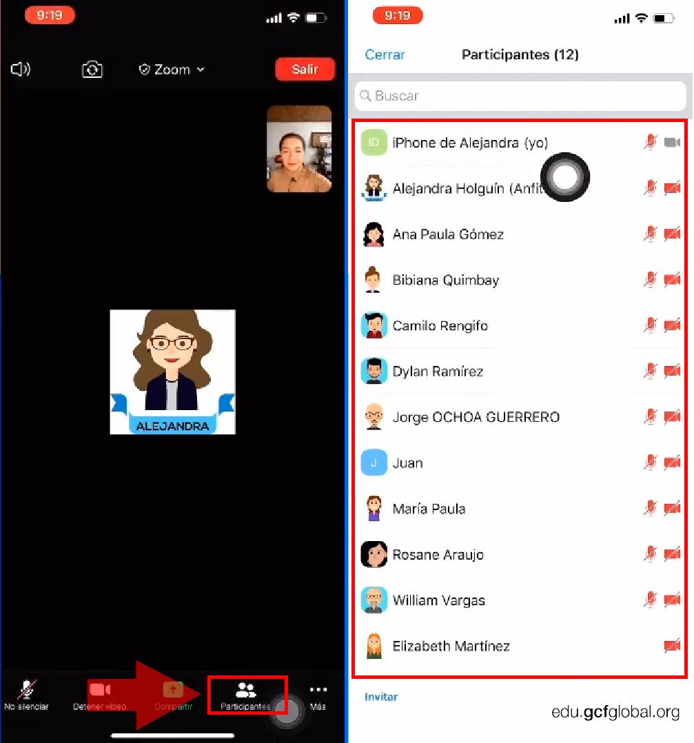 Imagen en la ventana de participantes de Zoom.