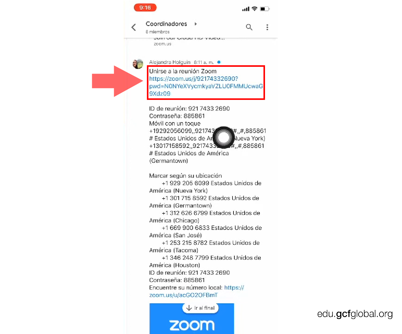 Imagen entrando a reunión con el link de Zoom.