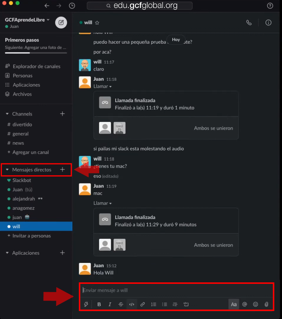 Imagen enviando un mensajes directo en Slack.