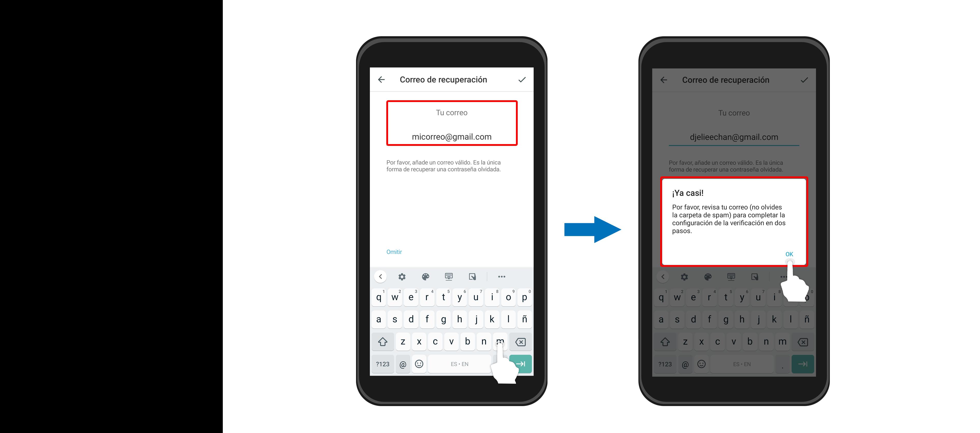 Por último, revisa tu correo electrónico para completar la configuración y activar este nuevo código de inicio de sesión.