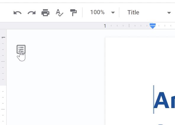 clicking show document outline