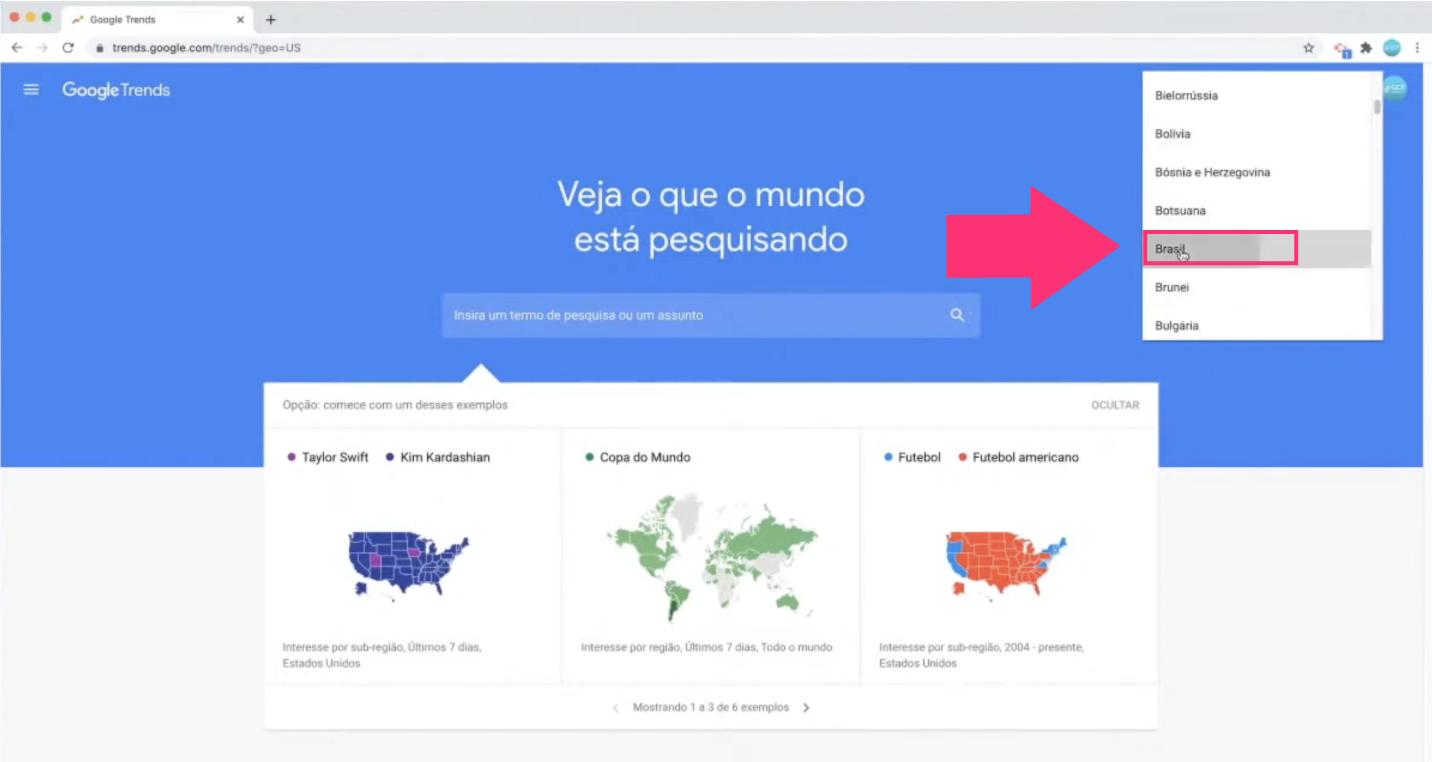Imagem3 ilustrativa de uma busca de tendências no Google Trends