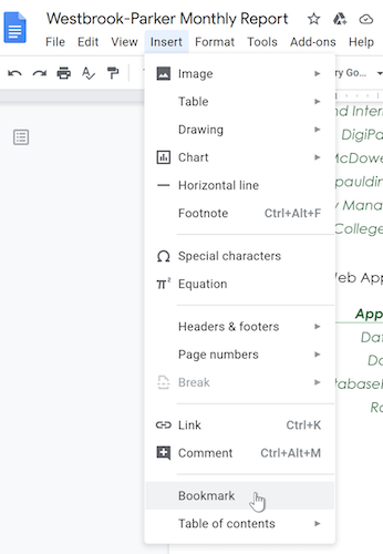 A cursor hovers on the Bookmark option within the Insert drop-down menu.