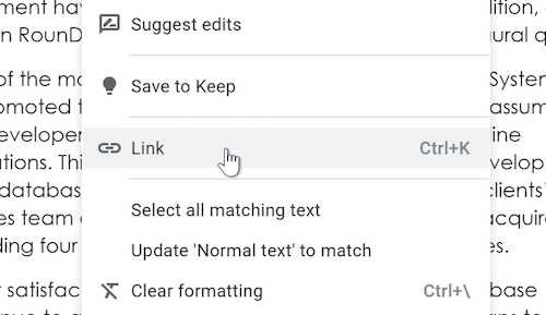 A cursor hovers over the Link option in a drop-down menu.