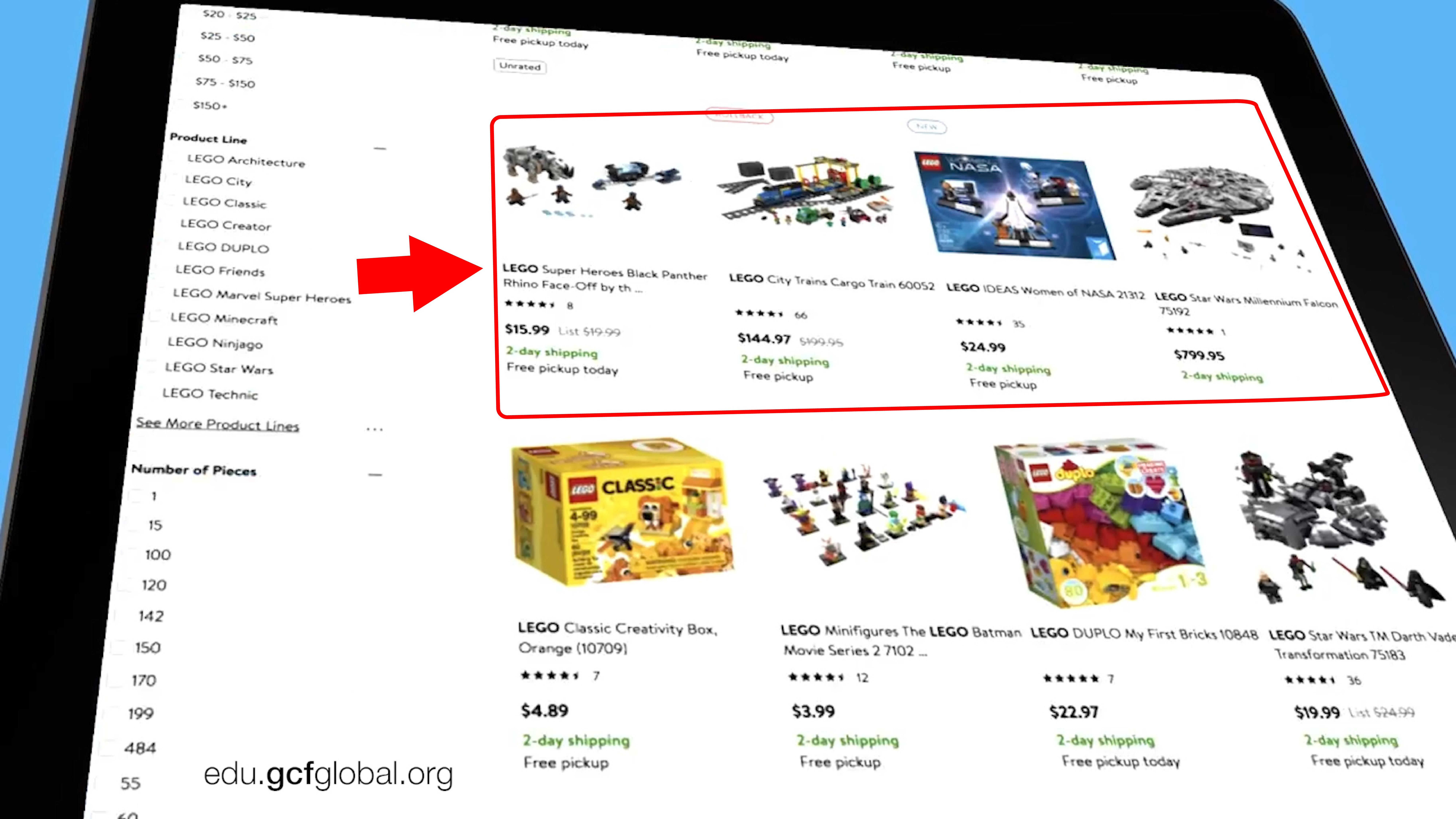 Imagen de opciones de compra mostradas por el bot.