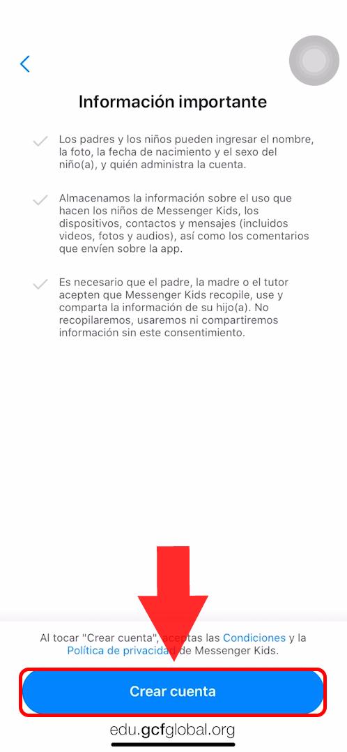 Imagen haciendo clic en Crear Cuenta.
