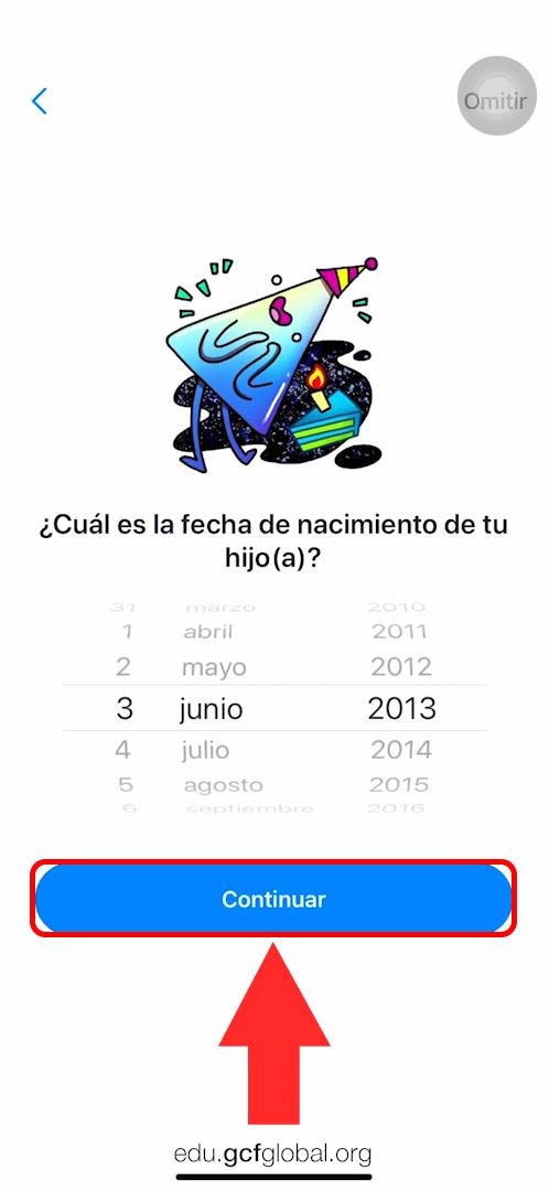 Imagen añadiendo la fecha de nacimiento y haciendo clic en Continuar.