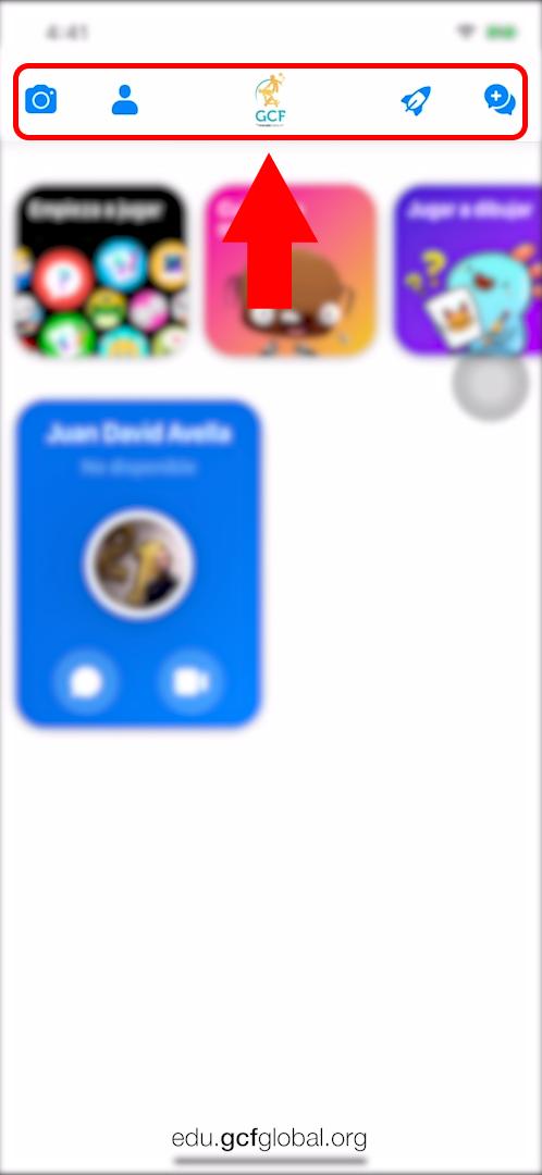Imagen de opciones principales en Messenger Kids.